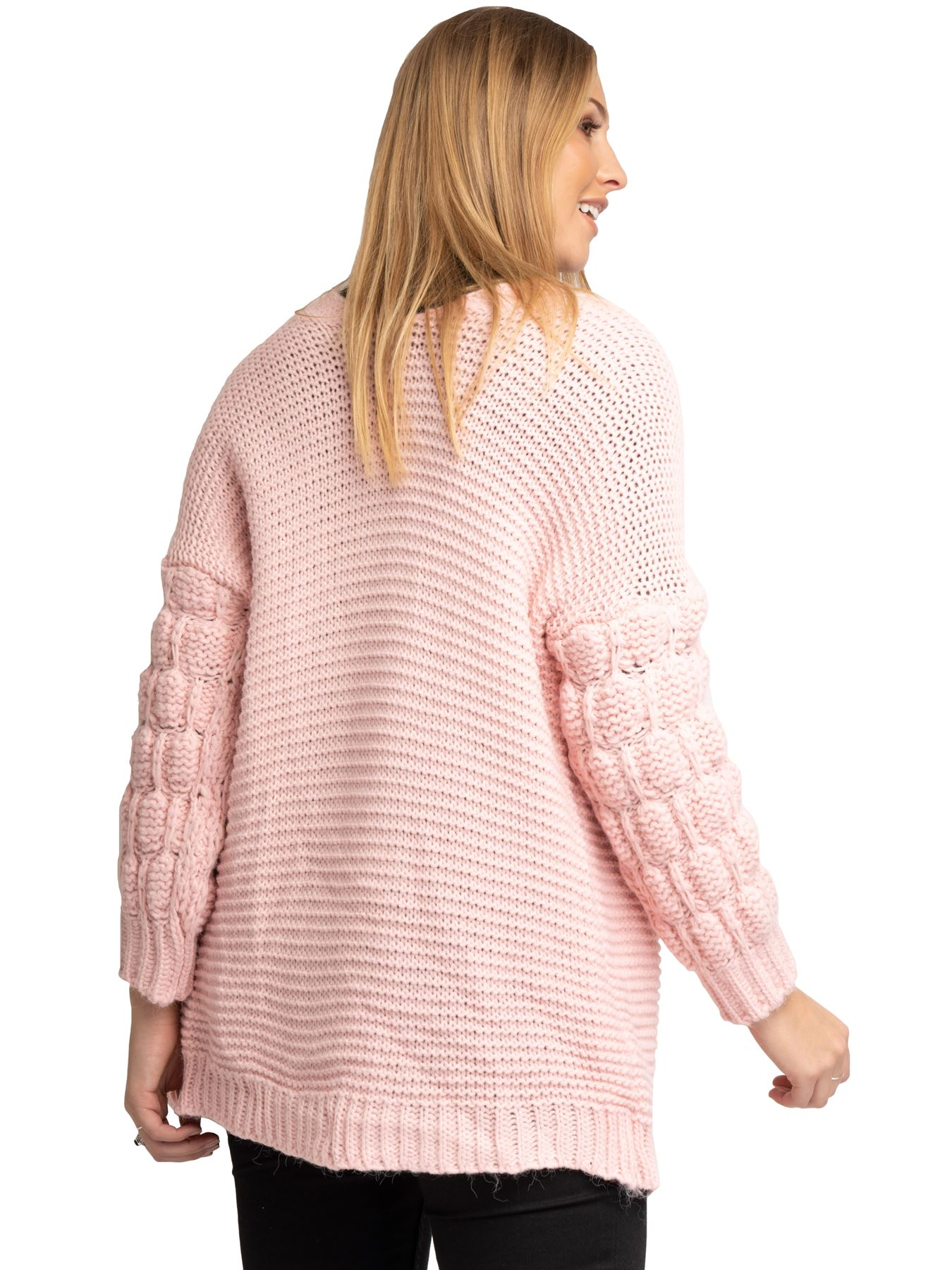 Womens Cardigan Ladies Ribbed Cuffs Striking Bobble Textured Sleeves Open Open Open Front 3019e4