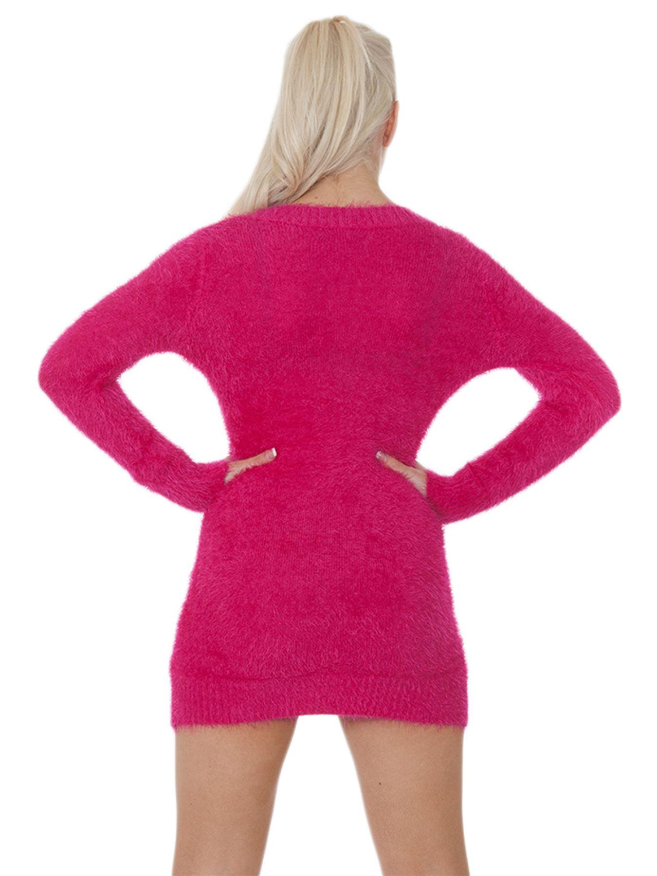 Pull-Femme-Femmes-Tricote-Cardigans-Plain-Tricot-Moelleux-Col-V-Manches-Longues miniature 18