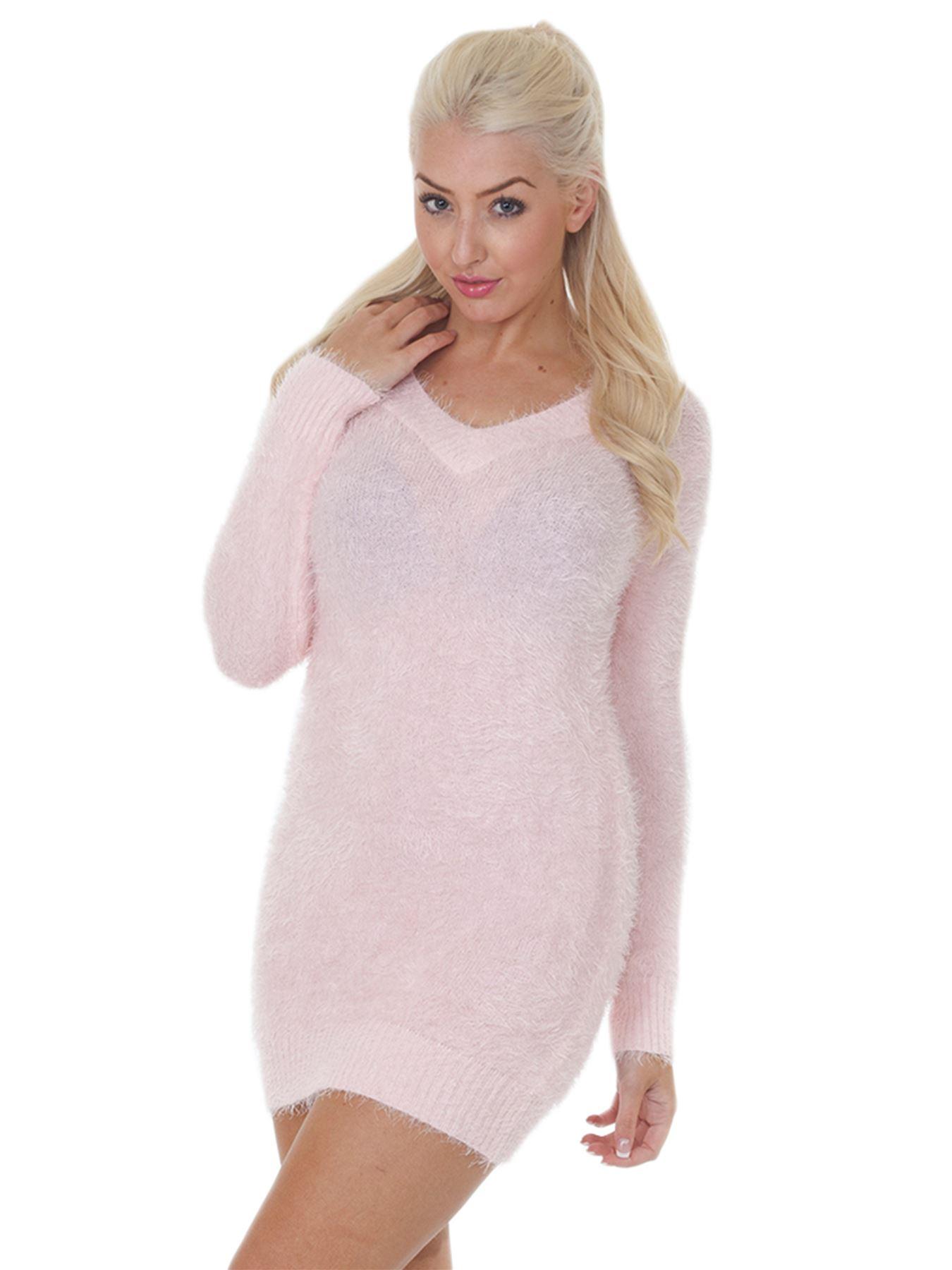 Pull-Femme-Femmes-Tricote-Cardigans-Plain-Tricot-Moelleux-Col-V-Manches-Longues miniature 24