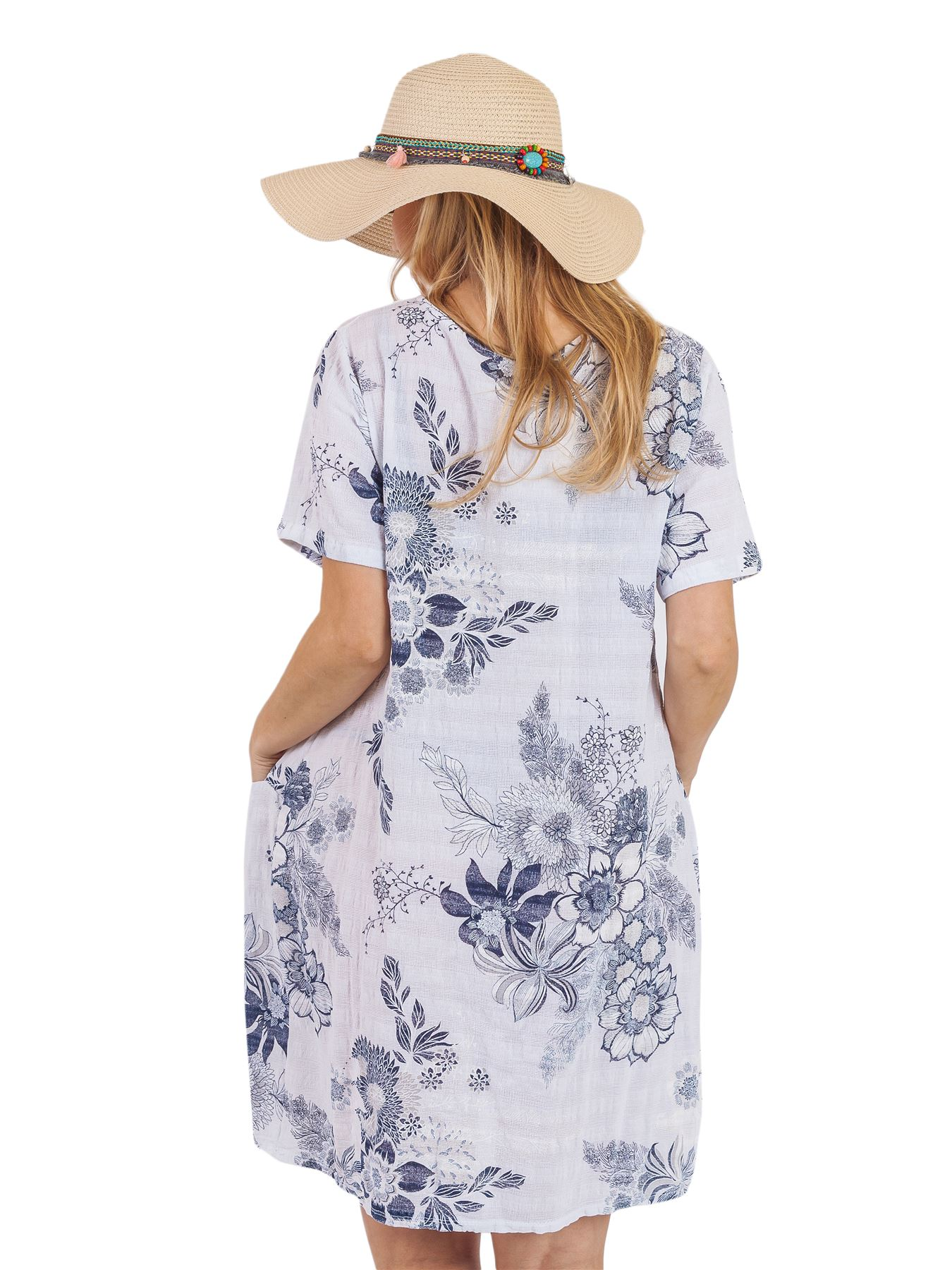 Women-Floral-Print-Italian-Fashion-Lagenlook-Ladies-Summer-Shift-Dress-Crew-Neck thumbnail 25
