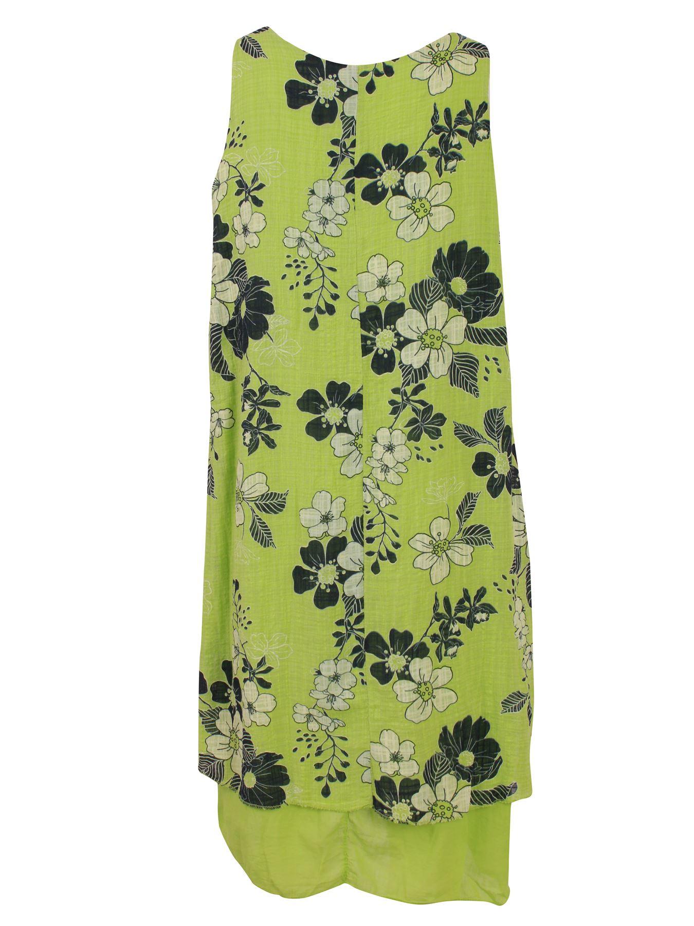 Womens-Floral-Print-Italian-Fashion-Lagenlook-Summer-Cotton-Crew-Neck-Dress thumbnail 21
