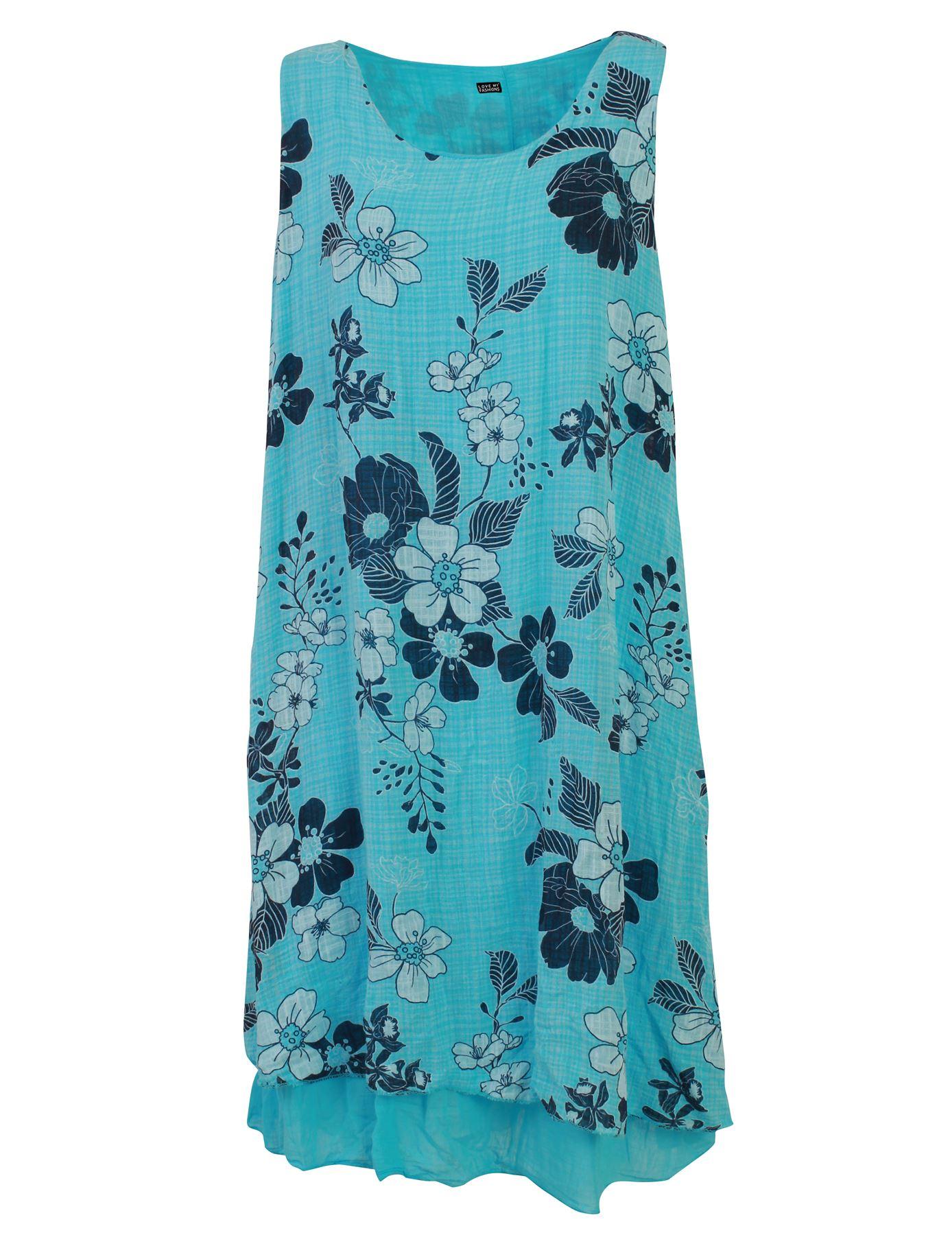 Womens-Floral-Print-Italian-Fashion-Lagenlook-Summer-Cotton-Crew-Neck-Dress thumbnail 26