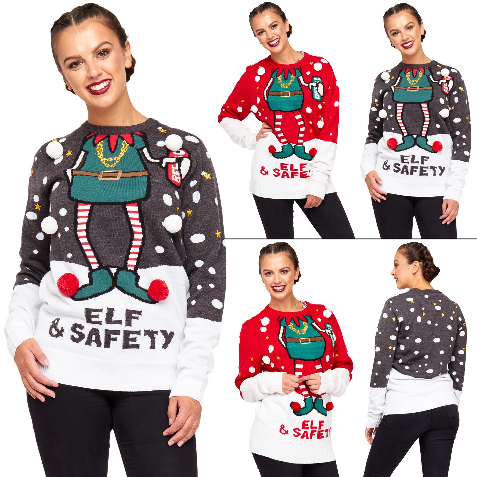 Unisex Christmas Jumper Elf  Safety 3d Graphic Trims Women Knitted Party Sweater