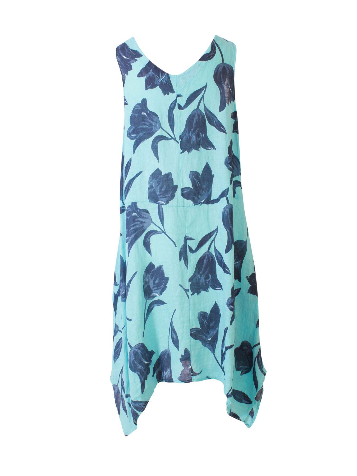 Womens-Tulip-Floral-Print-Italian-Lagenlook-Ladies-Linen-Dress-Two-Button-V-Neck thumbnail 19