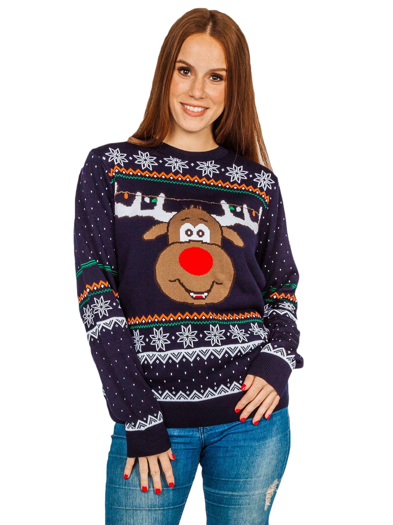 Unisex-Christmas-Jumper-Girls-Boys-Reindeer-Snow-Flake-Knitted-Pullover-Sweater thumbnail 2