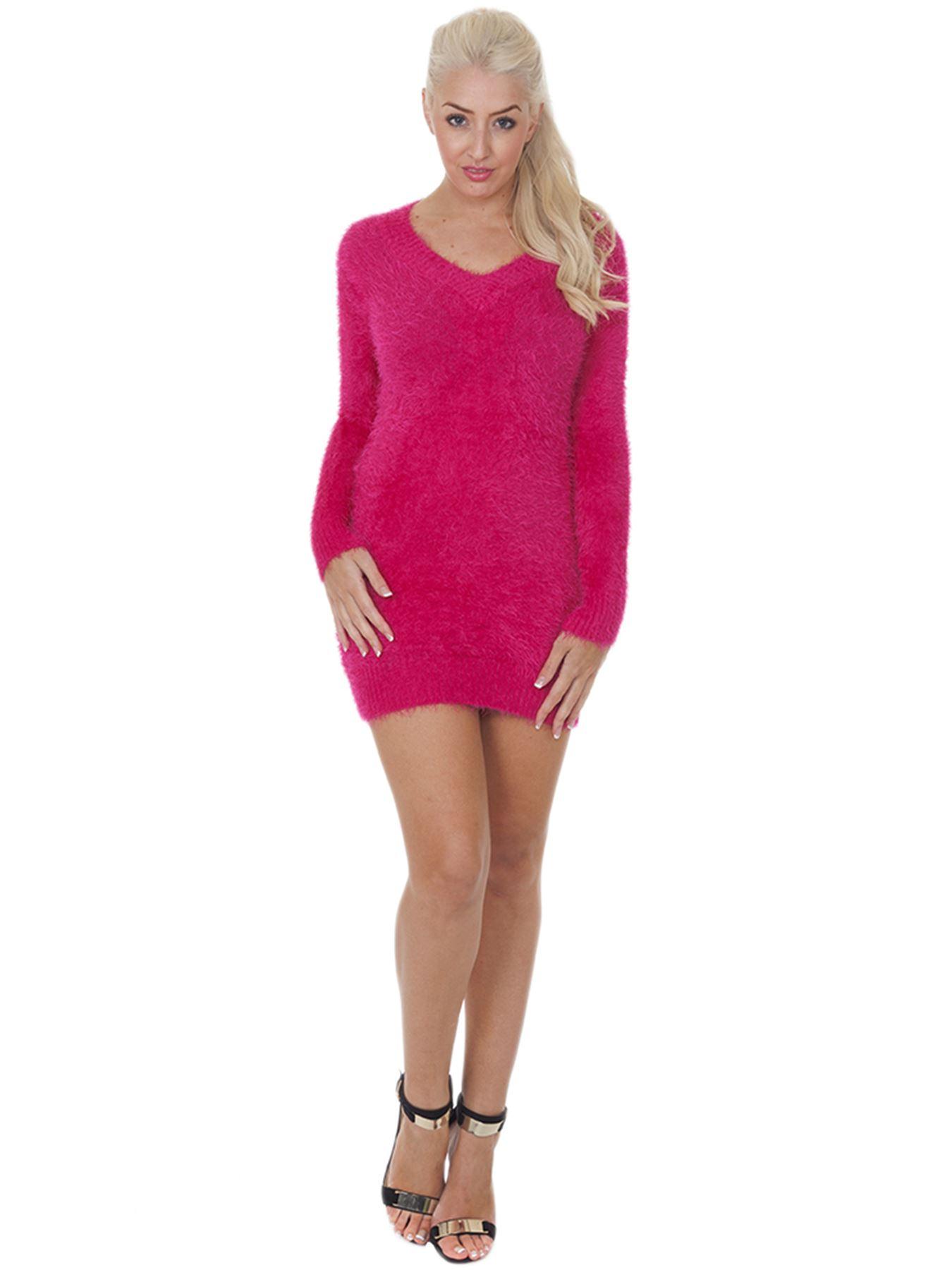 Pull-Femme-Femmes-Tricote-Cardigans-Plain-Tricot-Moelleux-Col-V-Manches-Longues miniature 17