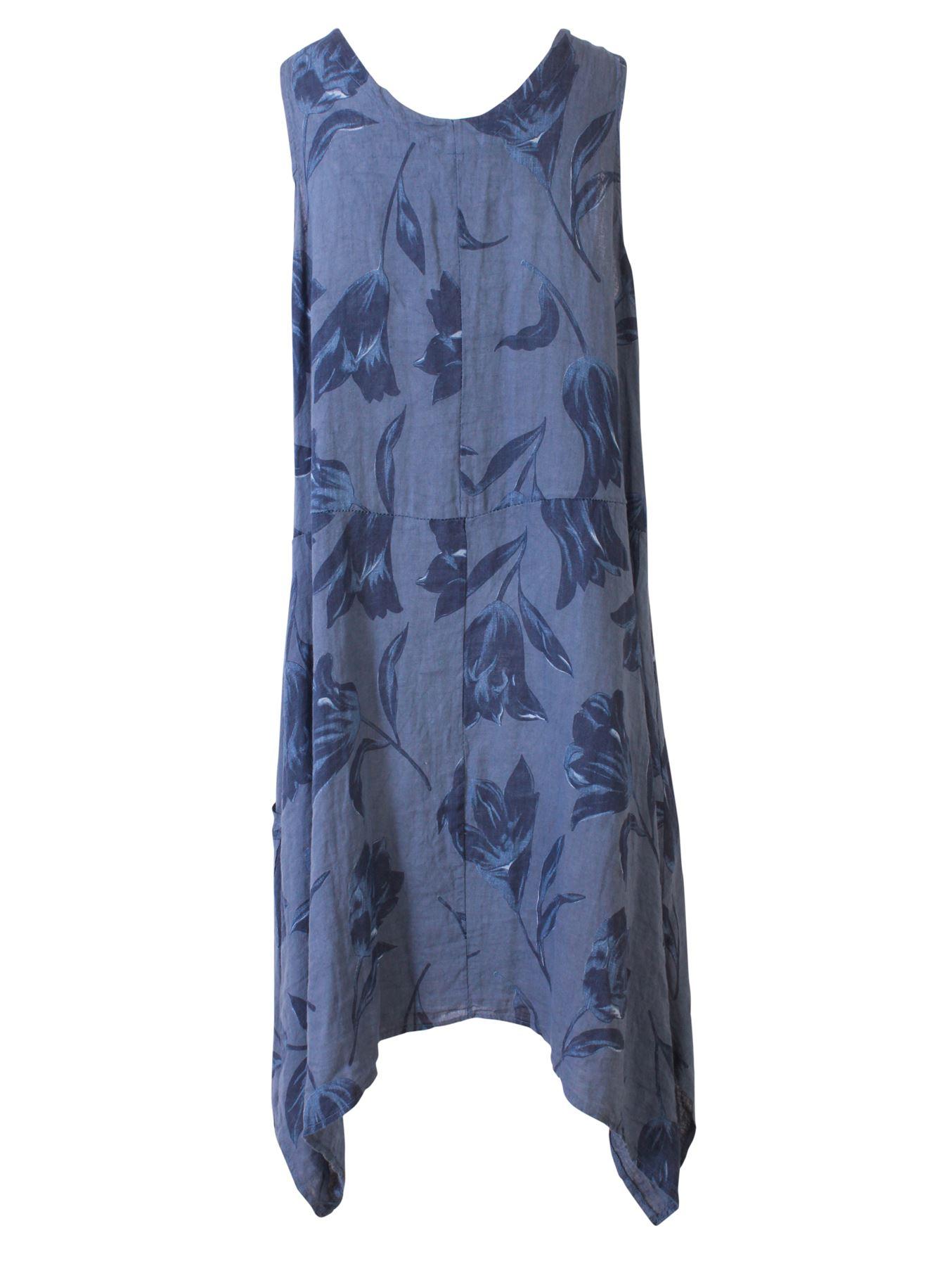 Womens-Tulip-Floral-Print-Italian-Lagenlook-Ladies-Linen-Dress-Two-Button-V-Neck thumbnail 7