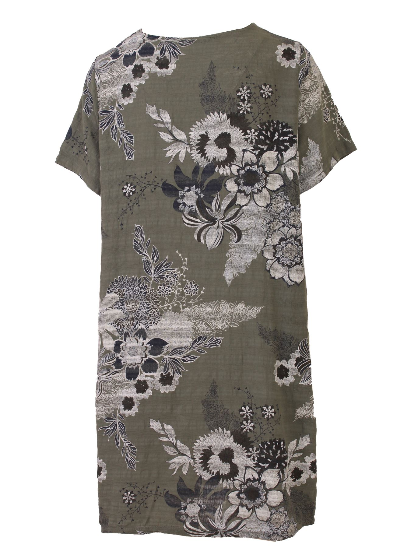 Women-Floral-Print-Italian-Fashion-Lagenlook-Ladies-Summer-Shift-Dress-Crew-Neck thumbnail 20