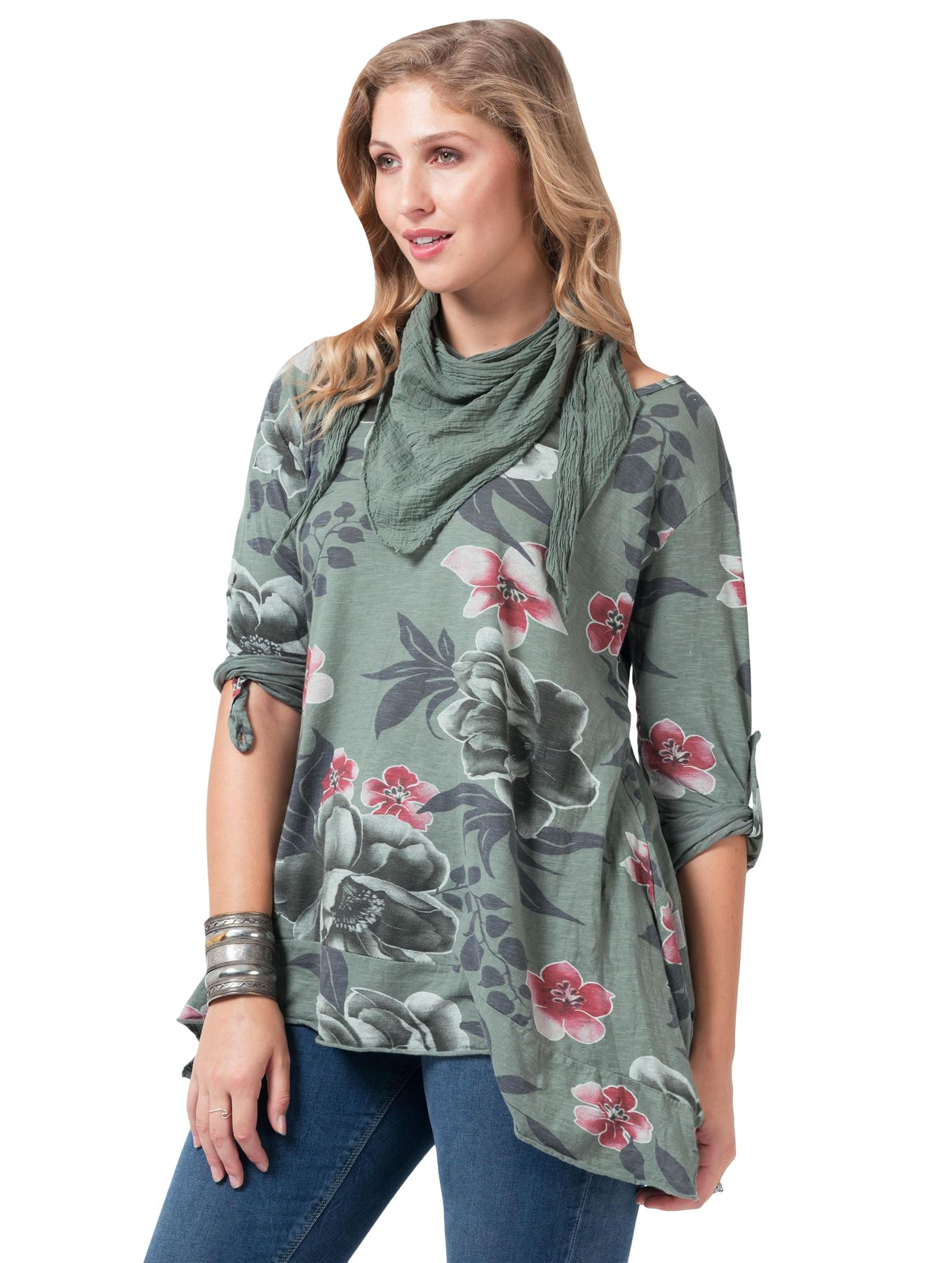 Womens-Top-Ladies-Button-Tab-Flower-patterned-Scarf-Italian-Lagenlook-Crew-Neck