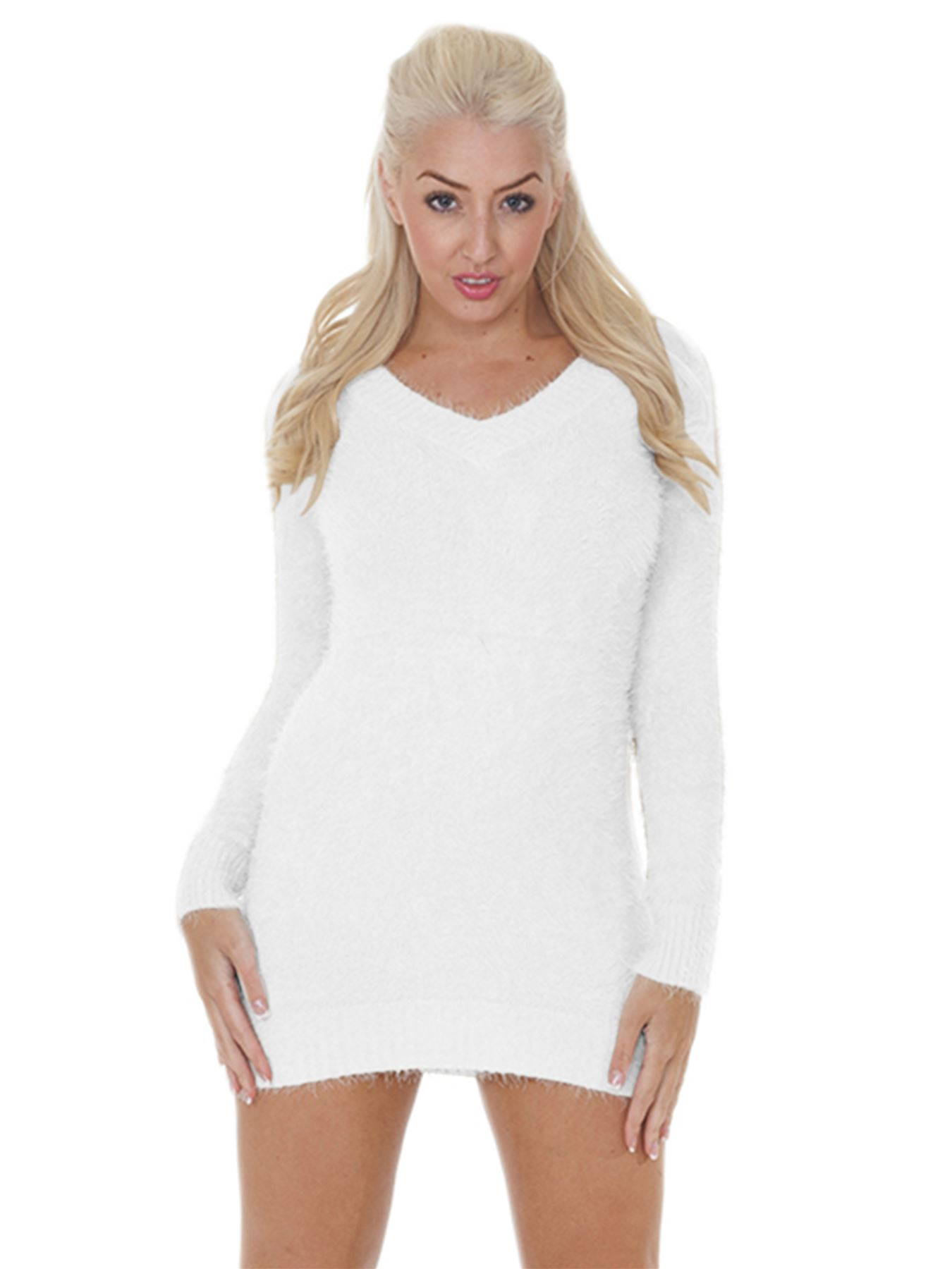Pull-Femme-Femmes-Tricote-Cardigans-Plain-Tricot-Moelleux-Col-V-Manches-Longues miniature 35