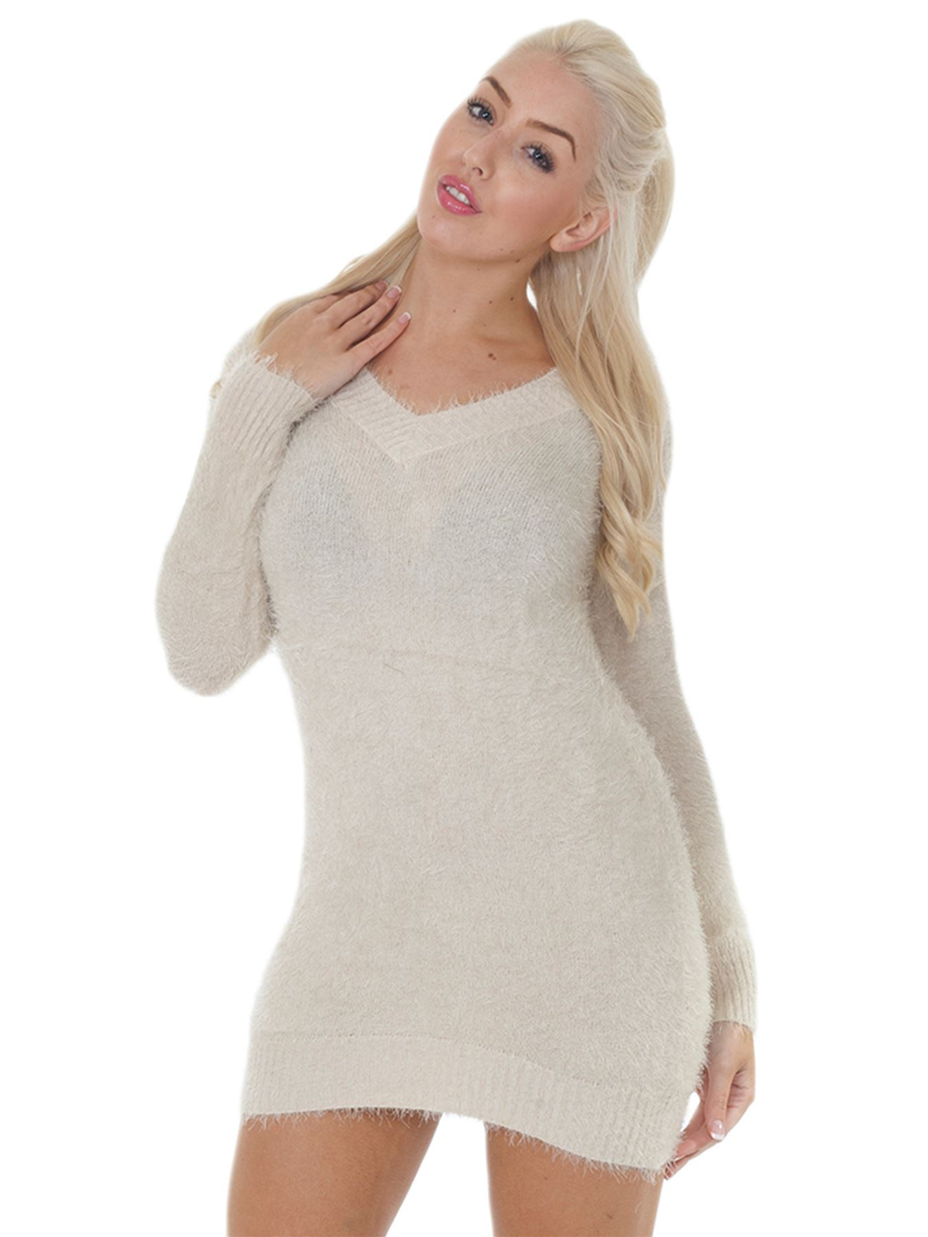 Pull-Femme-Femmes-Tricote-Cardigans-Plain-Tricot-Moelleux-Col-V-Manches-Longues miniature 4