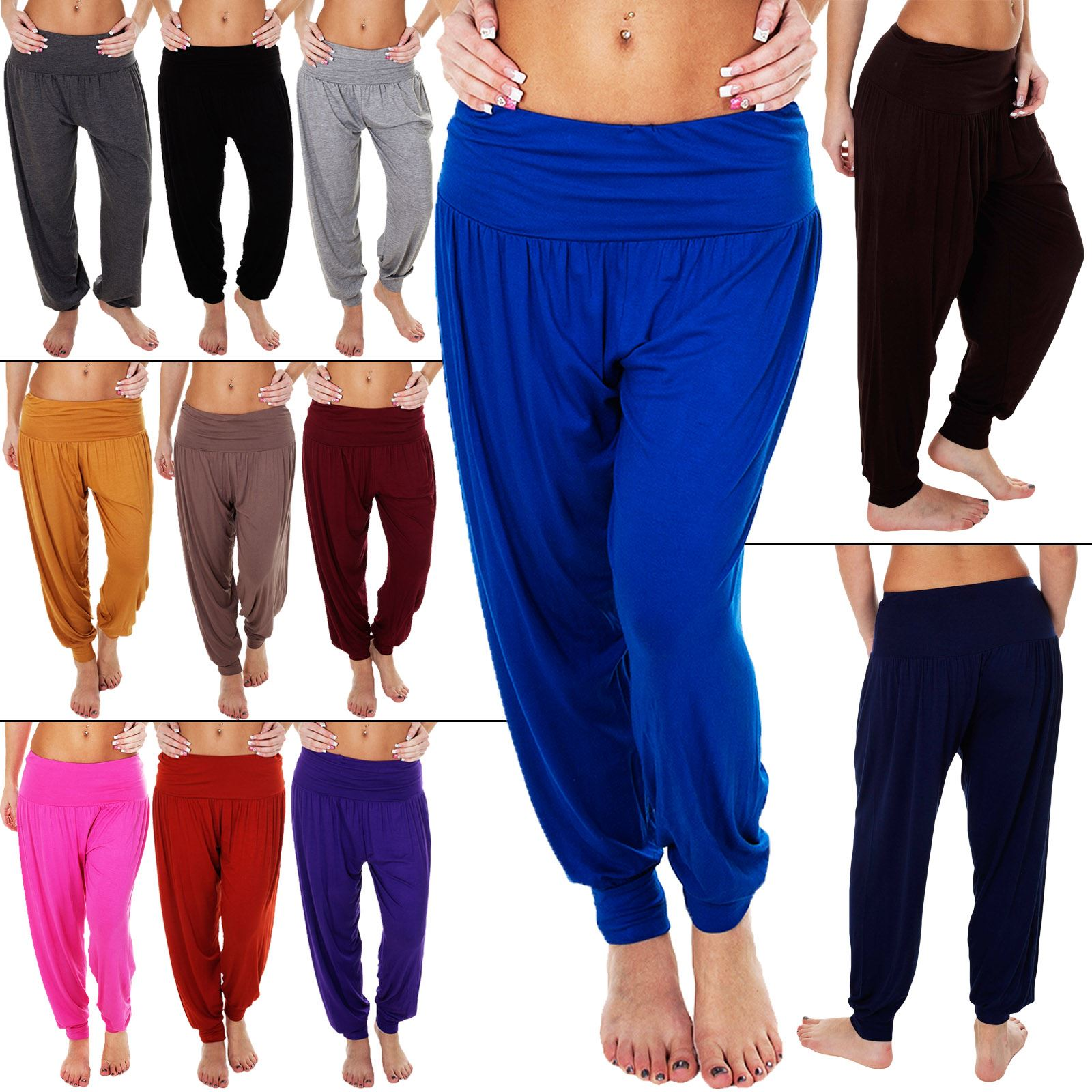 S-XL Womens Ladies New Plain Baggy Harem Pants// Ali Baba Trousers HOT SELLER!!