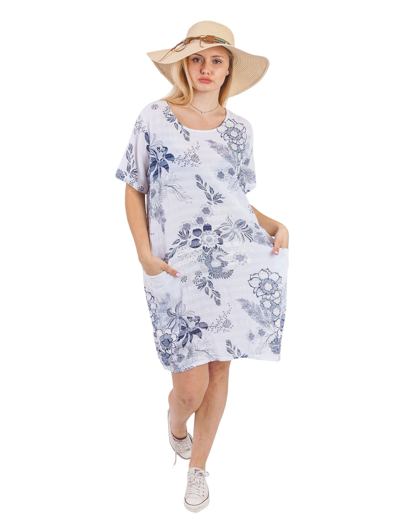 Women-Floral-Print-Italian-Fashion-Lagenlook-Ladies-Summer-Shift-Dress-Crew-Neck thumbnail 23