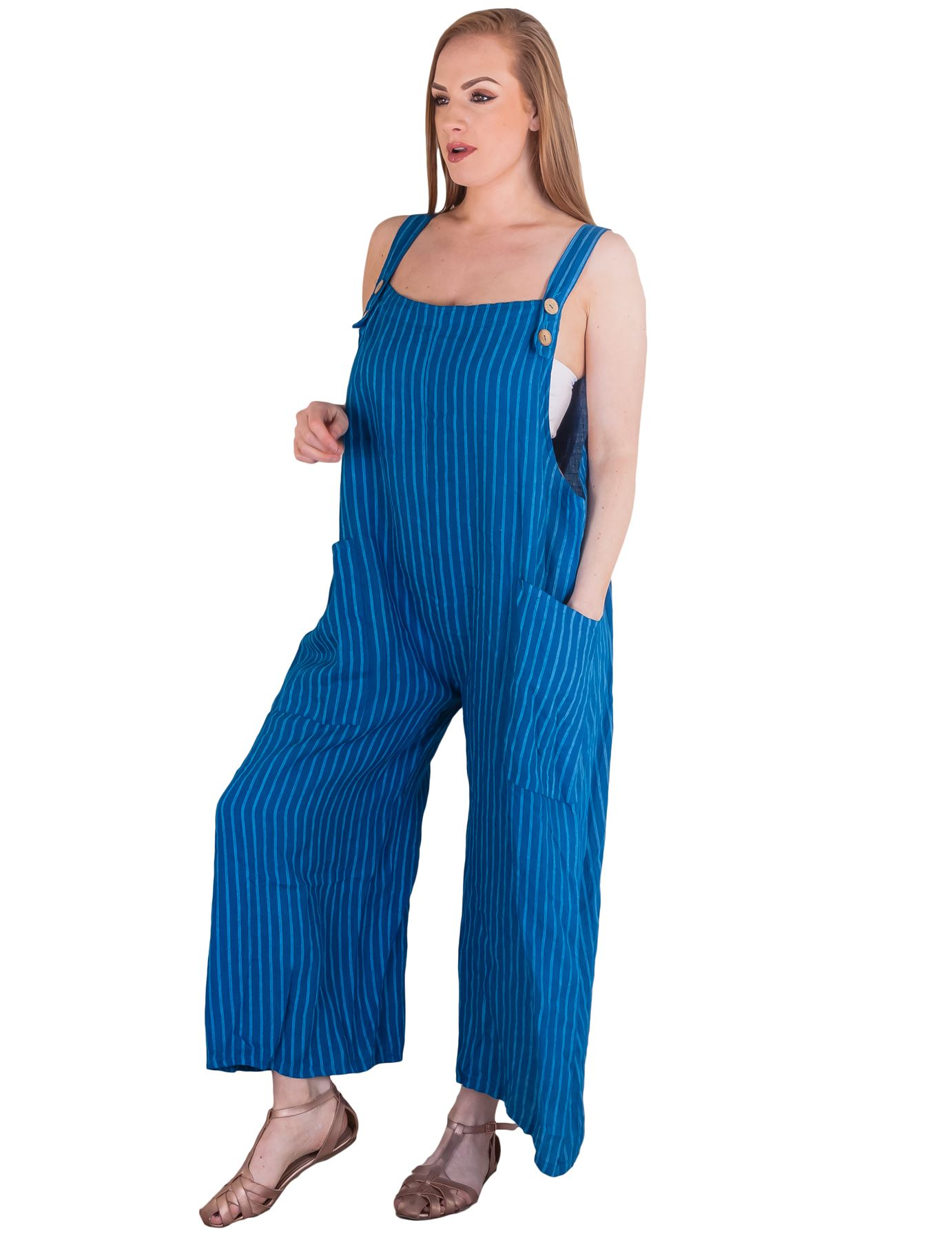 Ladies Jumpsuit Striped Front Two Pockets Button Womens Casual Dungaree Trouser