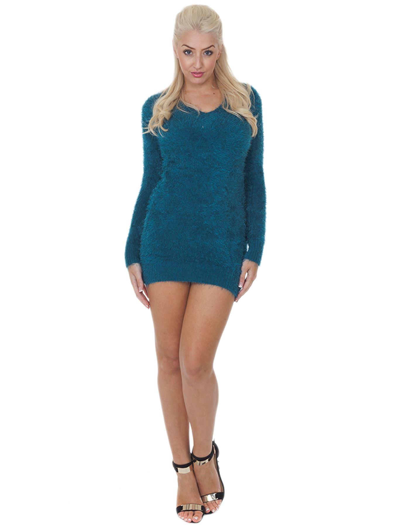 Pull-Femme-Femmes-Tricote-Cardigans-Plain-Tricot-Moelleux-Col-V-Manches-Longues miniature 33
