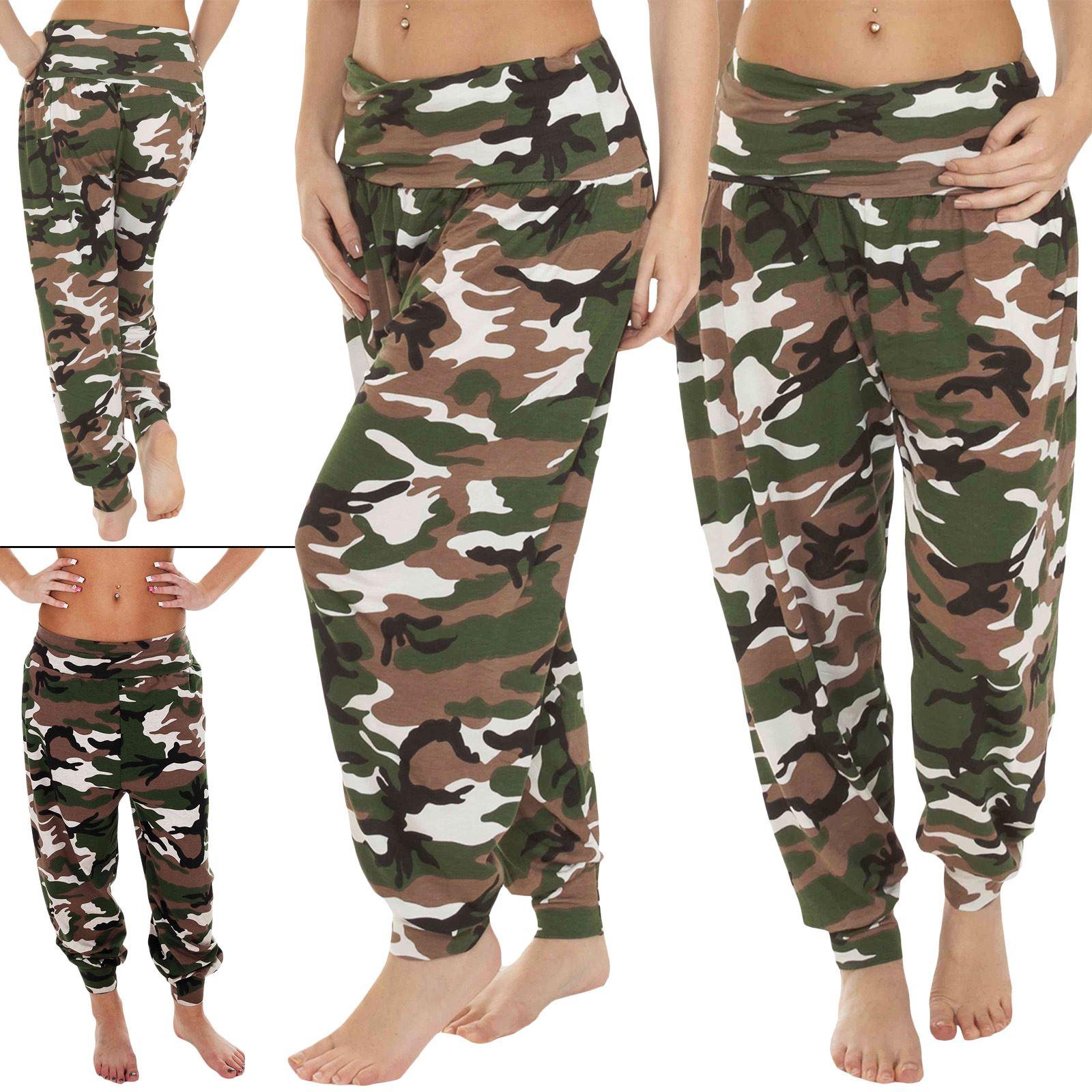 Pantalon Harem Con Estampado De Camuflaje Para Mujer Pantalones Harem De Mujer Ebay