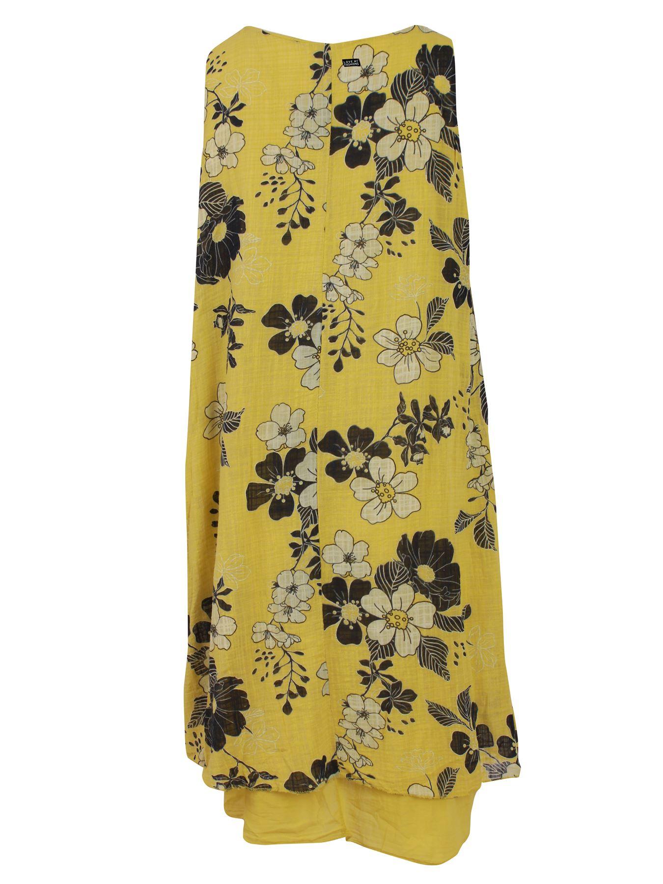 Womens-Floral-Print-Italian-Fashion-Lagenlook-Summer-Cotton-Crew-Neck-Dress thumbnail 3