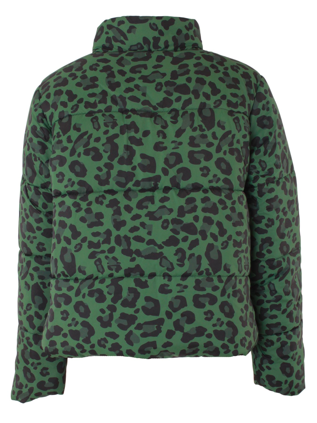 Ladies Jacket Womens Leopard Printed Bubble Padded Warm Coat Zip Up Long Sleeves