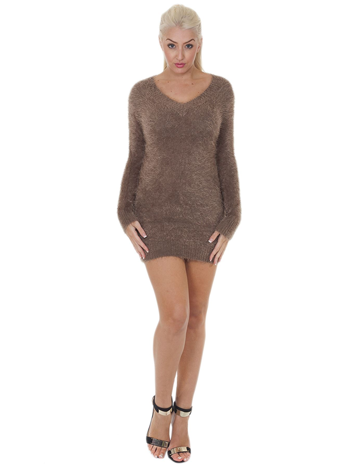 Pull-Femme-Femmes-Tricote-Cardigans-Plain-Tricot-Moelleux-Col-V-Manches-Longues miniature 21