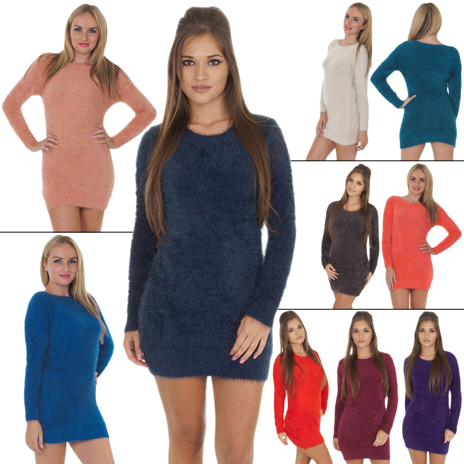 444a58a37c5 Image is loading Womens-Jumper-Boat-Neck-Fluffy-Ladies-plain-Cardigan-