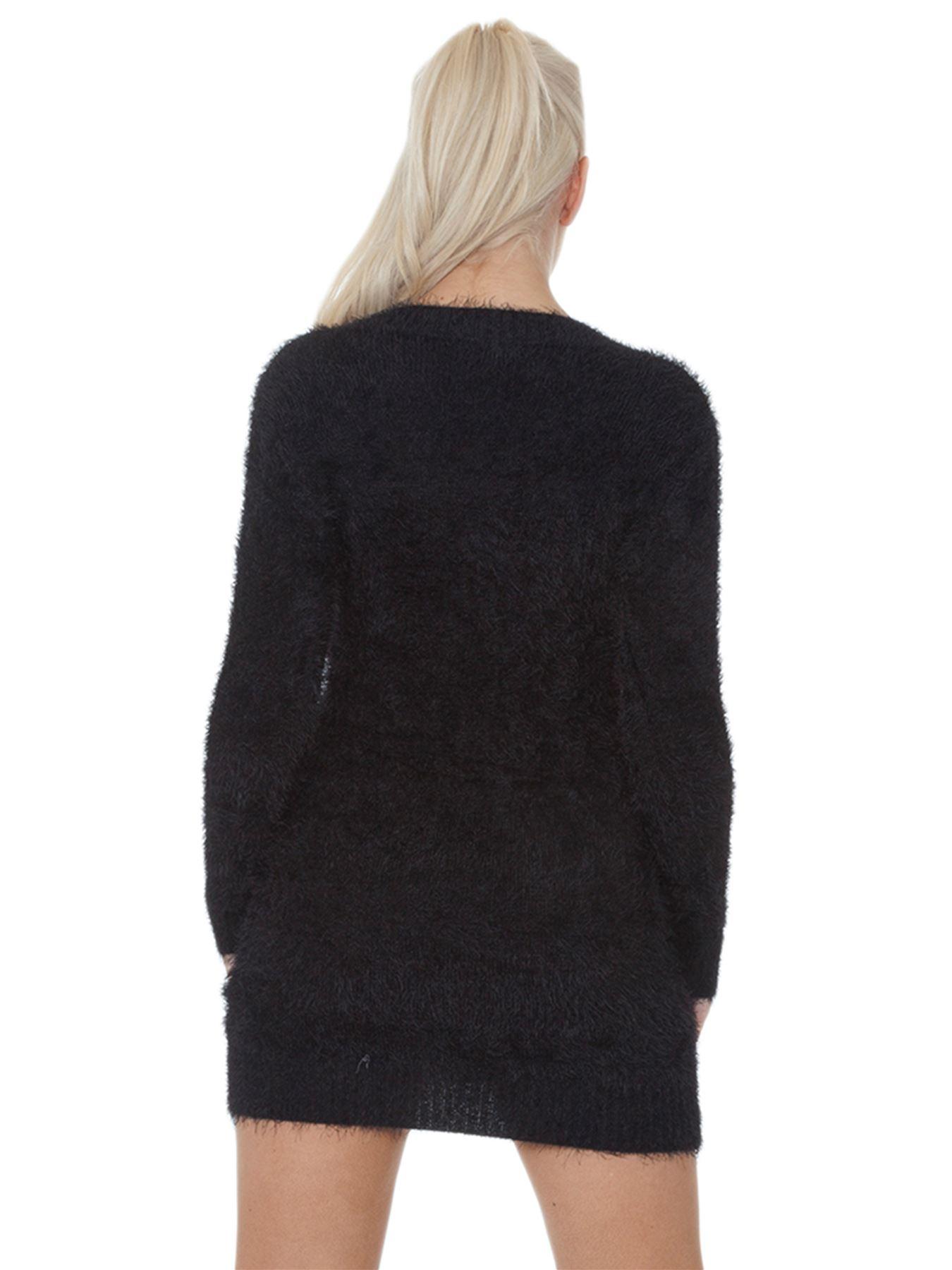 Pull-Femme-Femmes-Tricote-Cardigans-Plain-Tricot-Moelleux-Col-V-Manches-Longues miniature 10