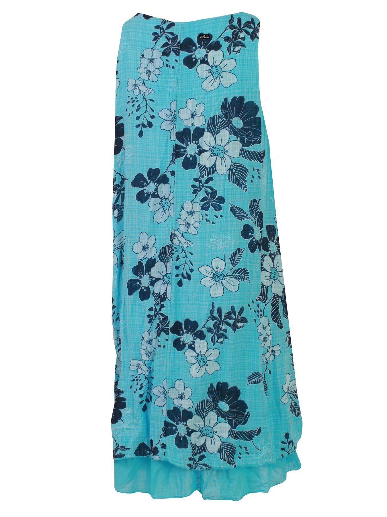 Womens-Floral-Print-Italian-Fashion-Lagenlook-Summer-Cotton-Crew-Neck-Dress thumbnail 27