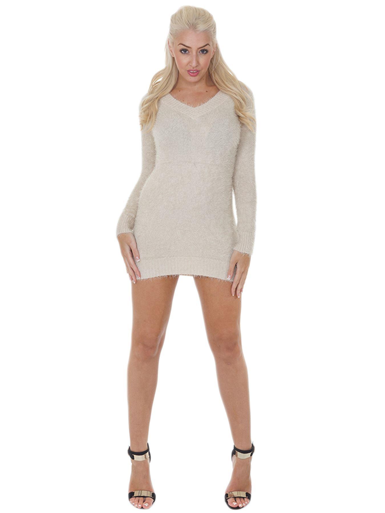 Pull-Femme-Femmes-Tricote-Cardigans-Plain-Tricot-Moelleux-Col-V-Manches-Longues miniature 5