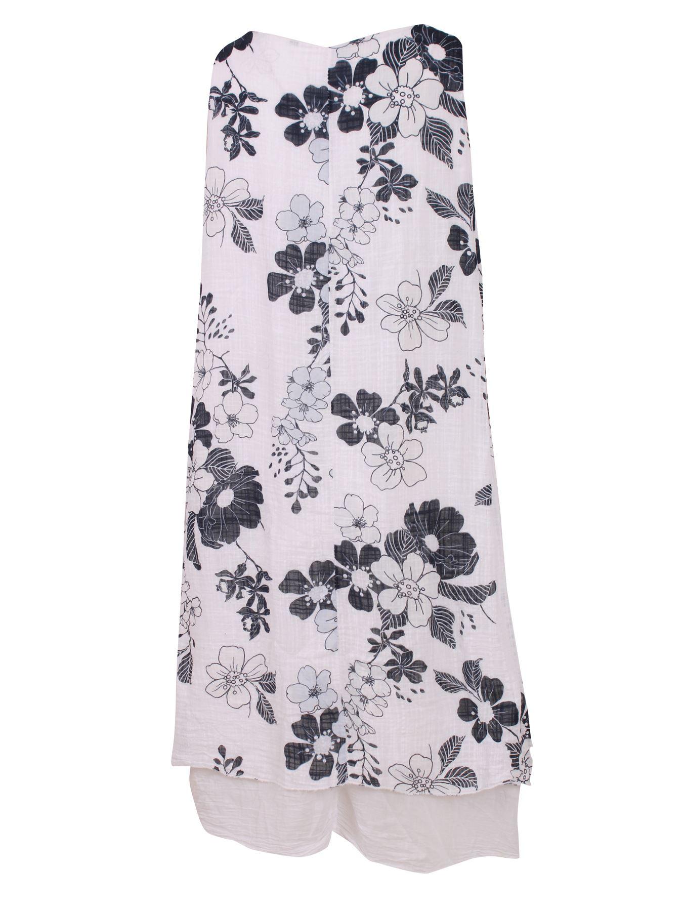 Womens-Floral-Print-Italian-Fashion-Lagenlook-Summer-Cotton-Crew-Neck-Dress thumbnail 30