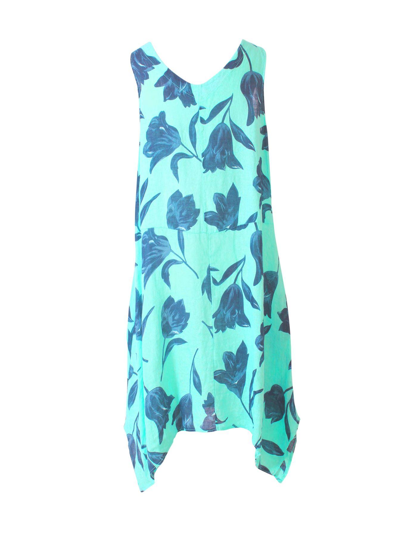 Womens-Tulip-Floral-Print-Italian-Lagenlook-Ladies-Linen-Dress-Two-Button-V-Neck thumbnail 21