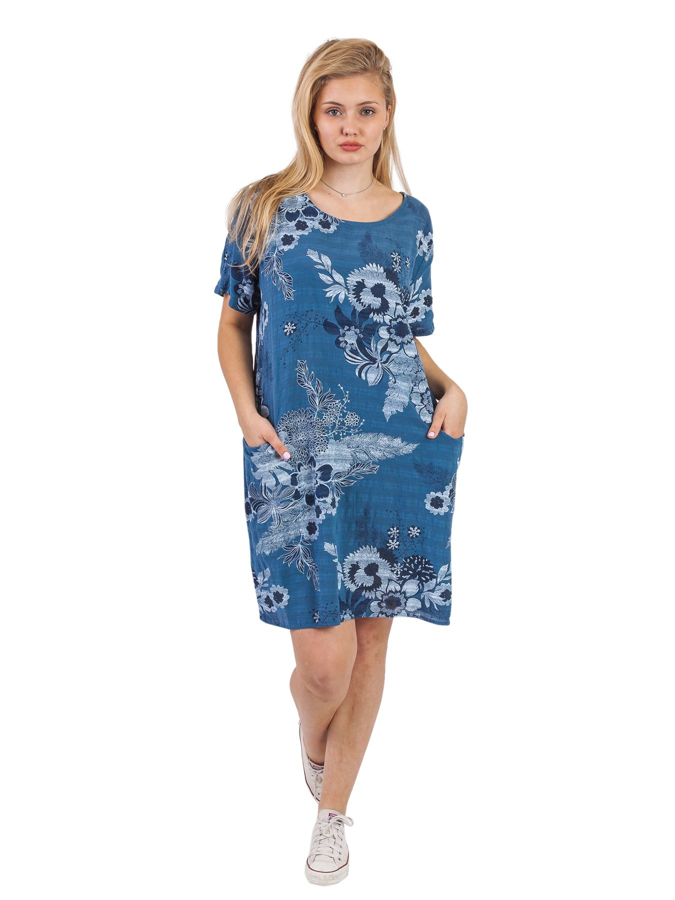Women-Floral-Print-Italian-Fashion-Lagenlook-Ladies-Summer-Shift-Dress-Crew-Neck thumbnail 6