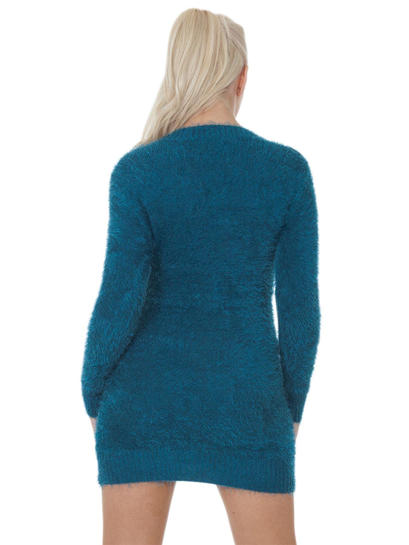 Pull-Femme-Femmes-Tricote-Cardigans-Plain-Tricot-Moelleux-Col-V-Manches-Longues miniature 34