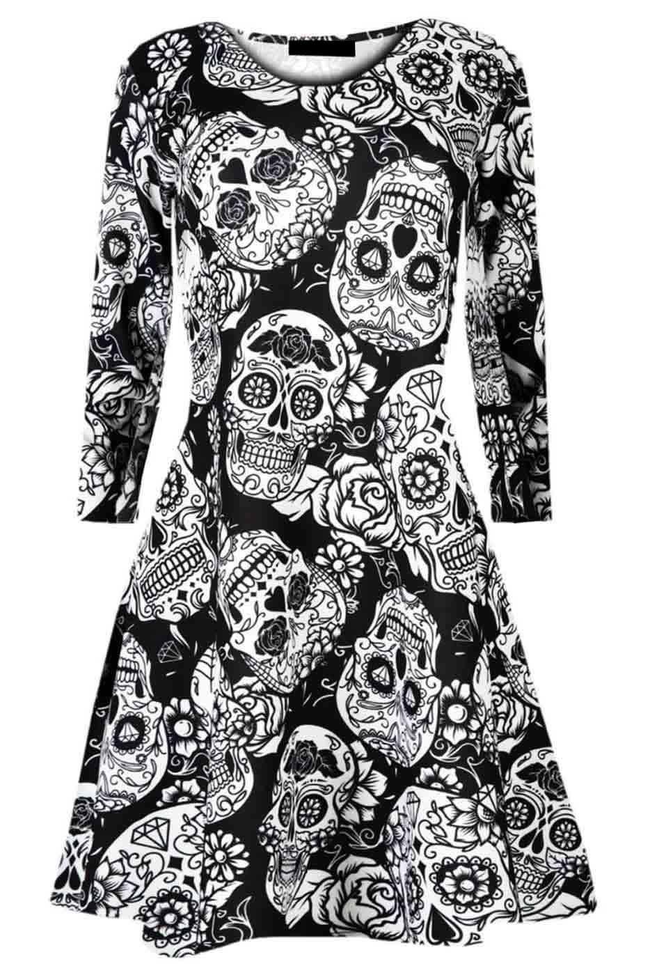 Womens Tunic Dress Halloween Skull Mono Prints Swing Ladies Party Wear Crew Neck