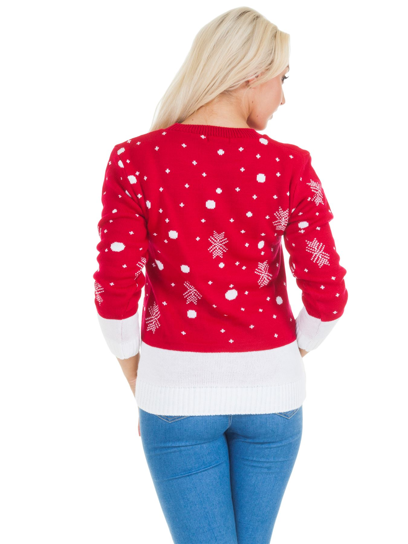 4fda50e25a7 Women Christmas Jumper Ladies Knitted Sweater Smiling Rudolph ...