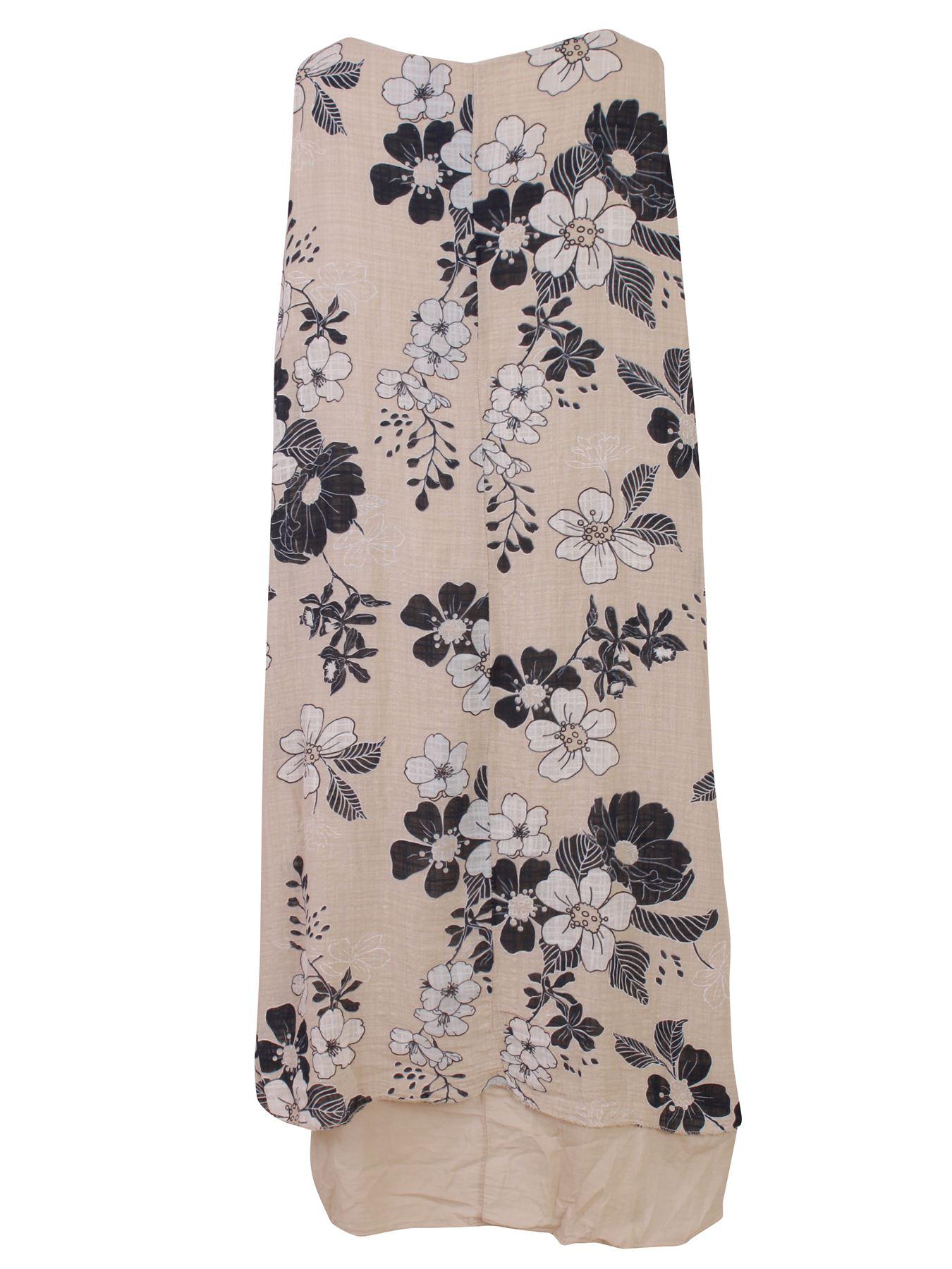 Womens-Floral-Print-Italian-Fashion-Lagenlook-Summer-Cotton-Crew-Neck-Dress thumbnail 9