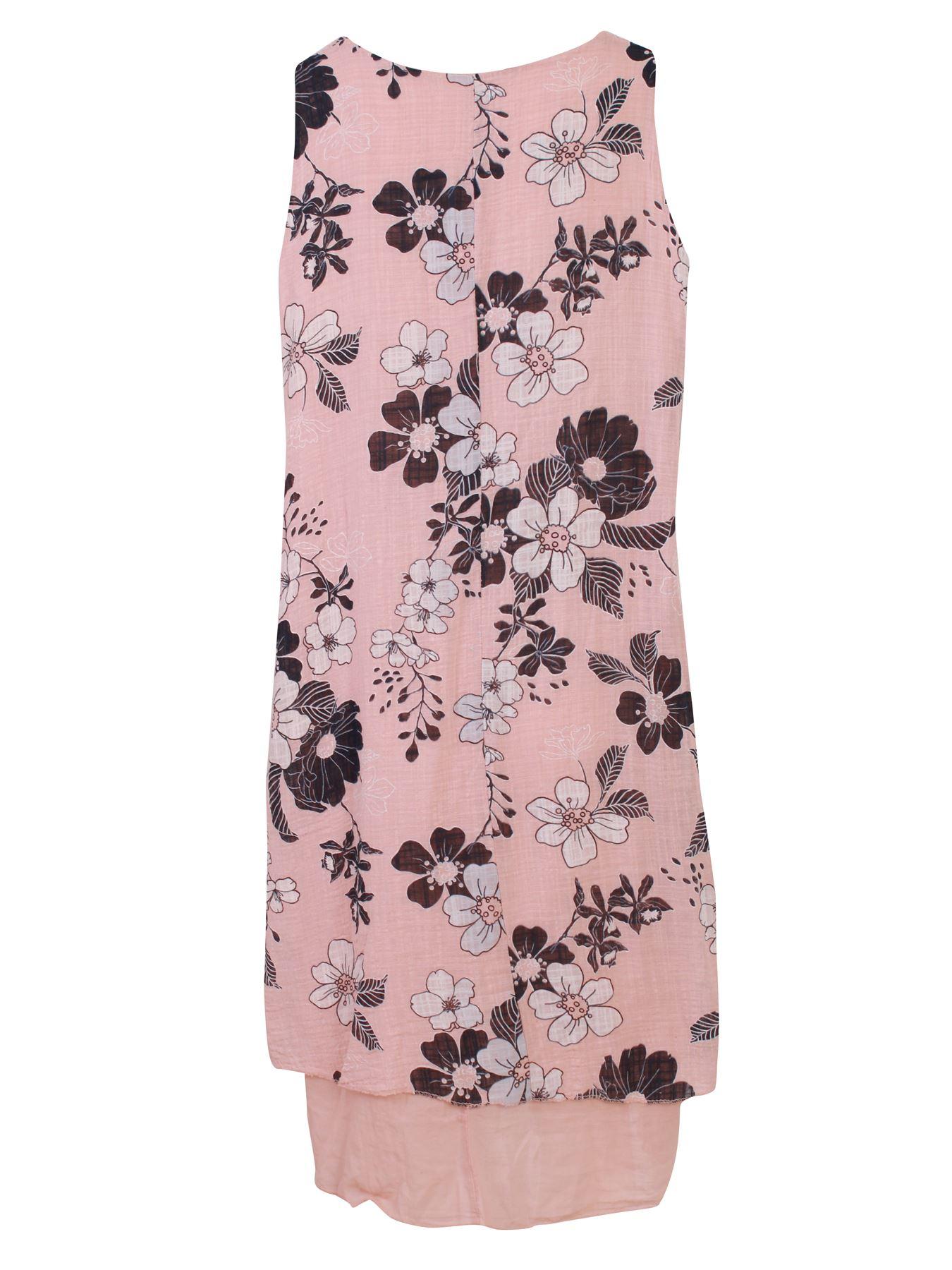 Womens-Floral-Print-Italian-Fashion-Lagenlook-Summer-Cotton-Crew-Neck-Dress thumbnail 6