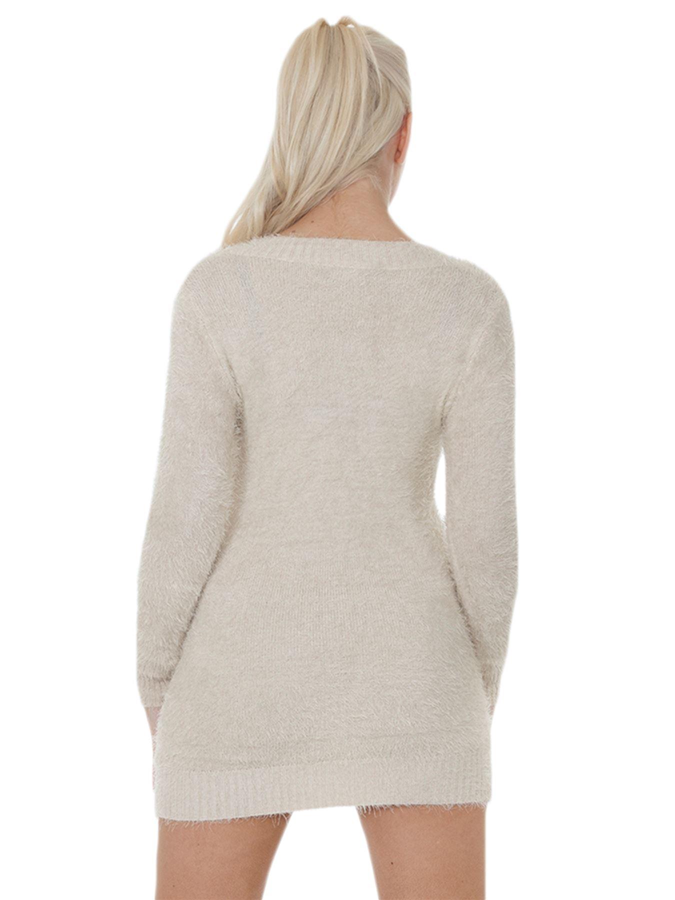 Pull-Femme-Femmes-Tricote-Cardigans-Plain-Tricot-Moelleux-Col-V-Manches-Longues miniature 6