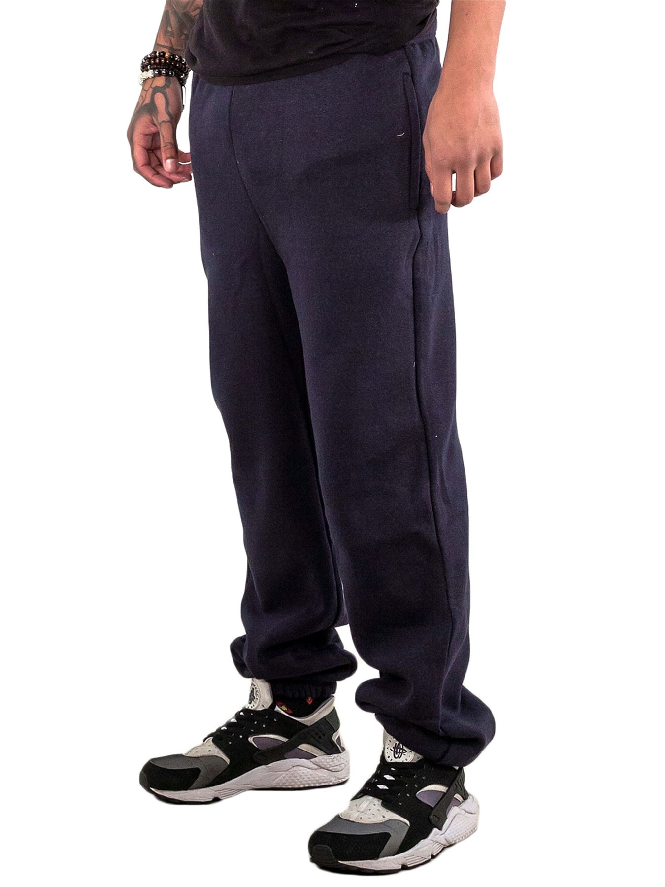 Mens-Fleece-Ribbed-Joggers-Tracksuit-Jogging-Bottom-Loose-Fit-Sweat-Pants-S-5XL thumbnail 10