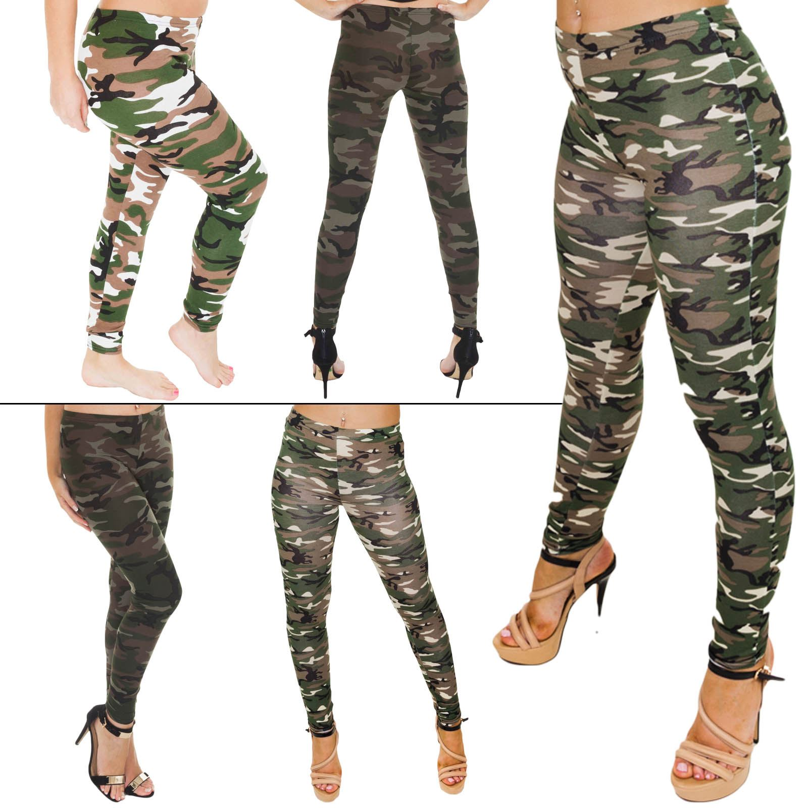 WOMENS CAMOUFLAGE ARMY PRINT LEGGINGS MILITARY LADIES PLUS SIZE VISCOSE COSTUME