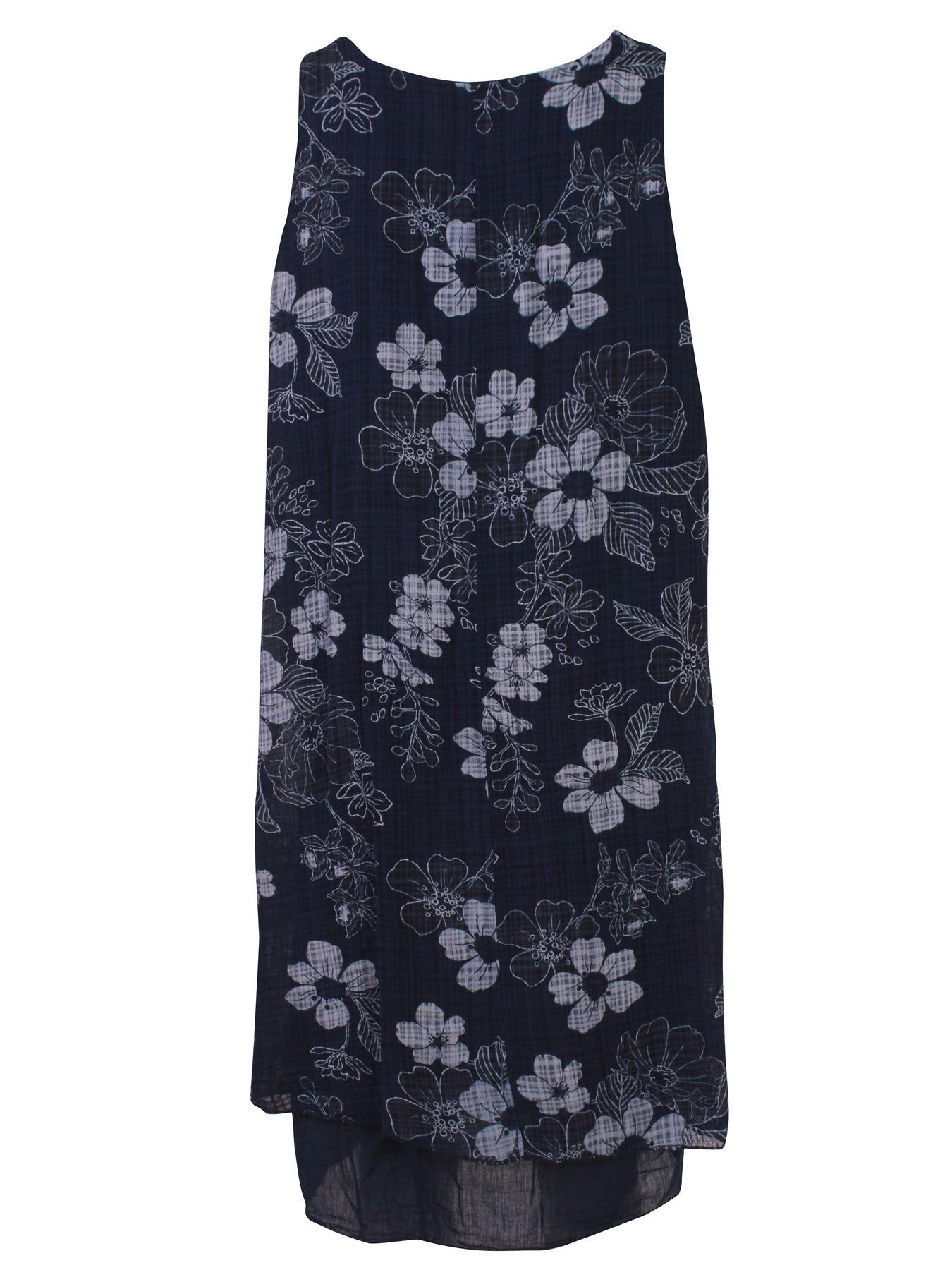 Womens-Floral-Print-Italian-Fashion-Lagenlook-Summer-Cotton-Crew-Neck-Dress thumbnail 24
