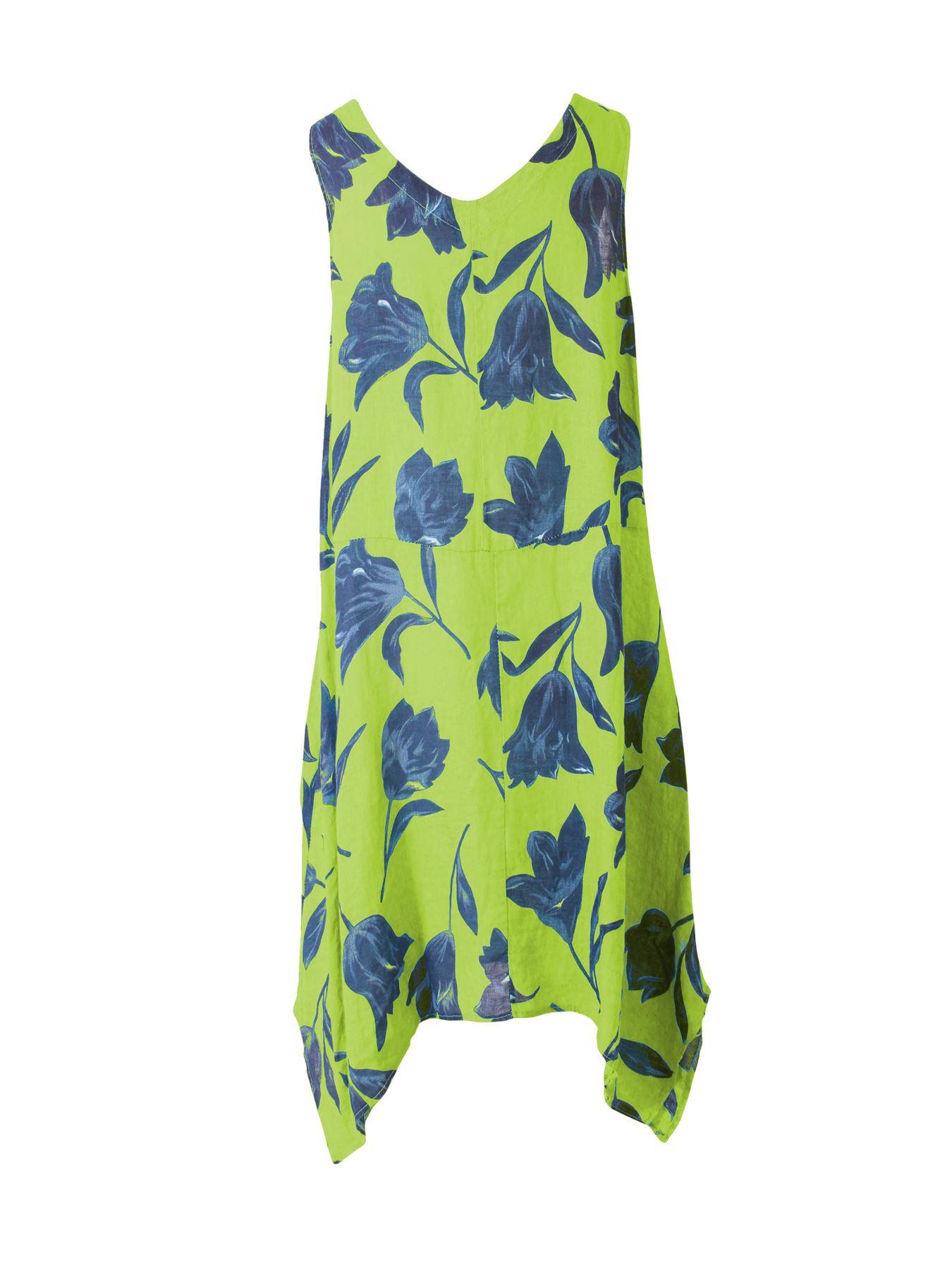 Womens-Tulip-Floral-Print-Italian-Lagenlook-Ladies-Linen-Dress-Two-Button-V-Neck thumbnail 13