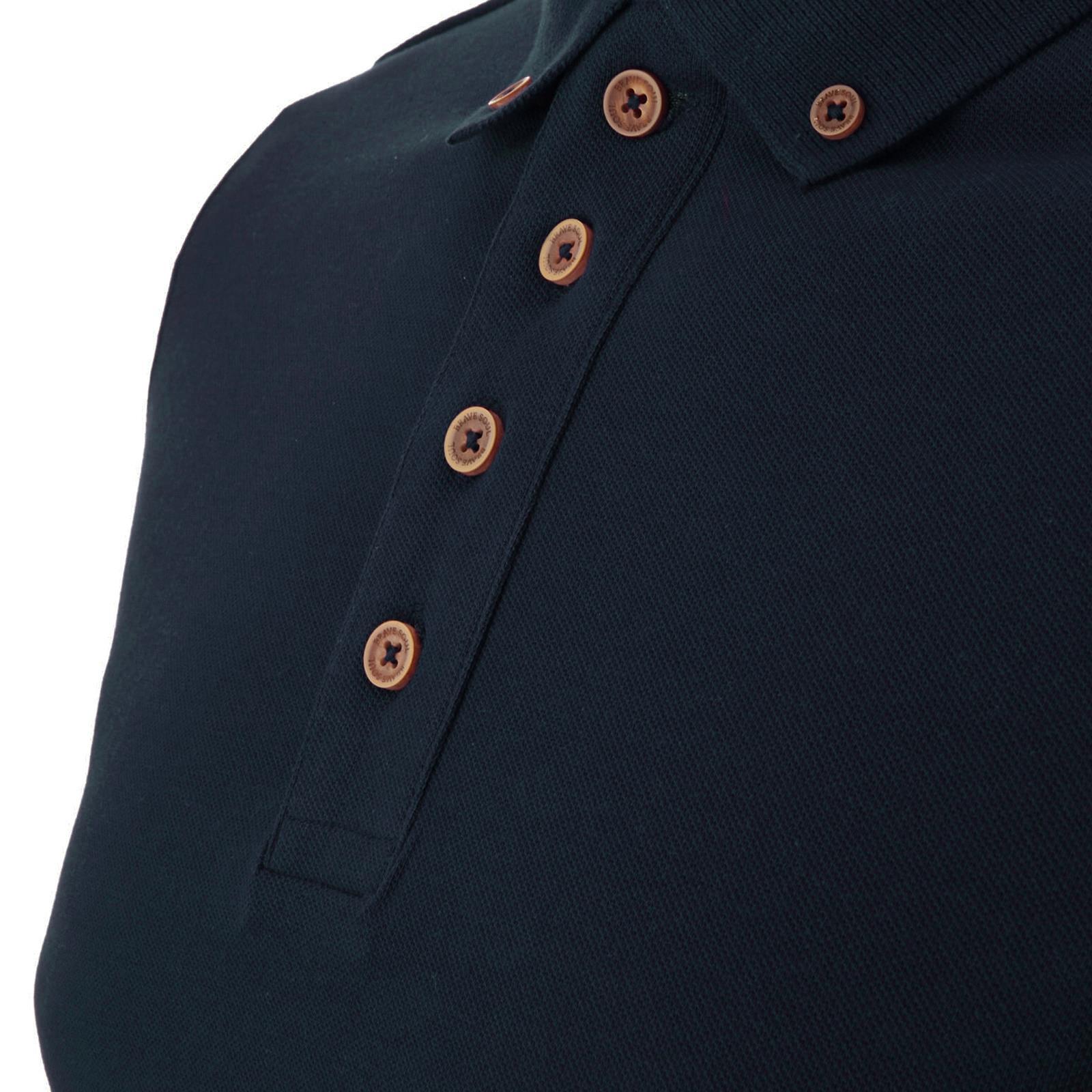 Homme-Polo-Brave-Soul-Lincoln-a-Manches-Longues-A-Col-Coton-Pique-Haut-Decontracte-Chemise miniature 20