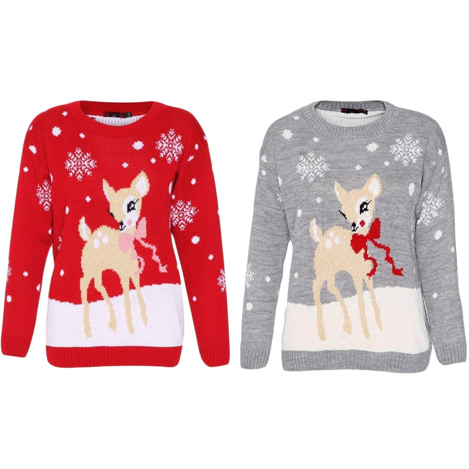 9240ead171de Womens Christmas Jumper Ladies Pullover Sweater Reindeer Deer ...