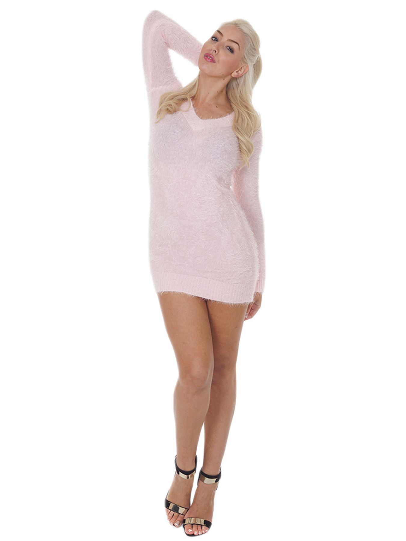 Pull-Femme-Femmes-Tricote-Cardigans-Plain-Tricot-Moelleux-Col-V-Manches-Longues miniature 25