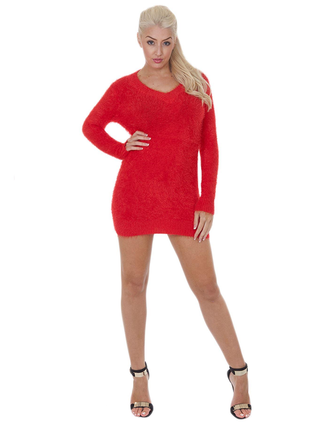 Pull-Femme-Femmes-Tricote-Cardigans-Plain-Tricot-Moelleux-Col-V-Manches-Longues miniature 29