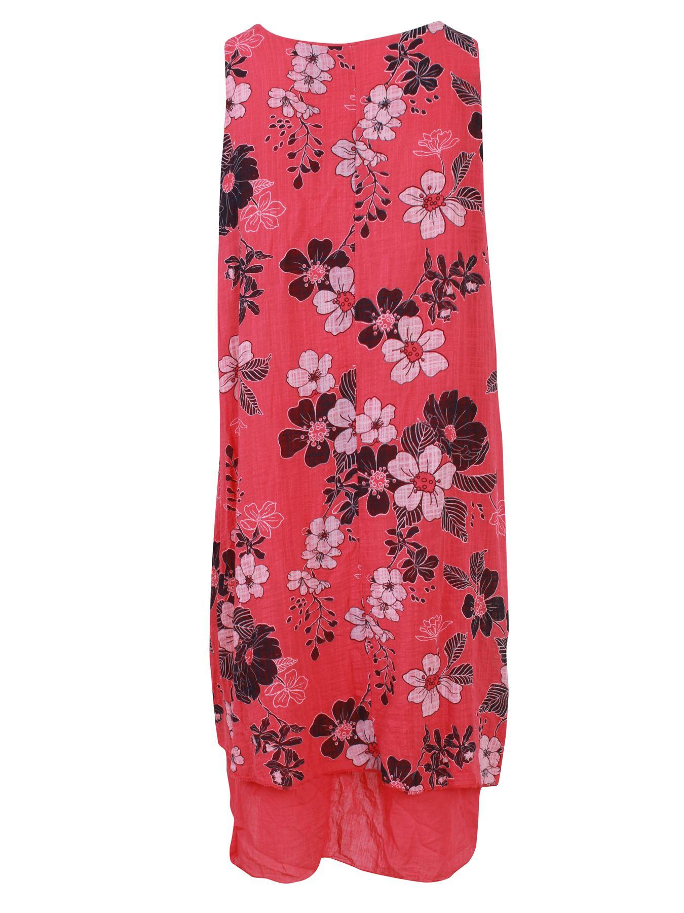Womens-Floral-Print-Italian-Fashion-Lagenlook-Summer-Cotton-Crew-Neck-Dress thumbnail 15