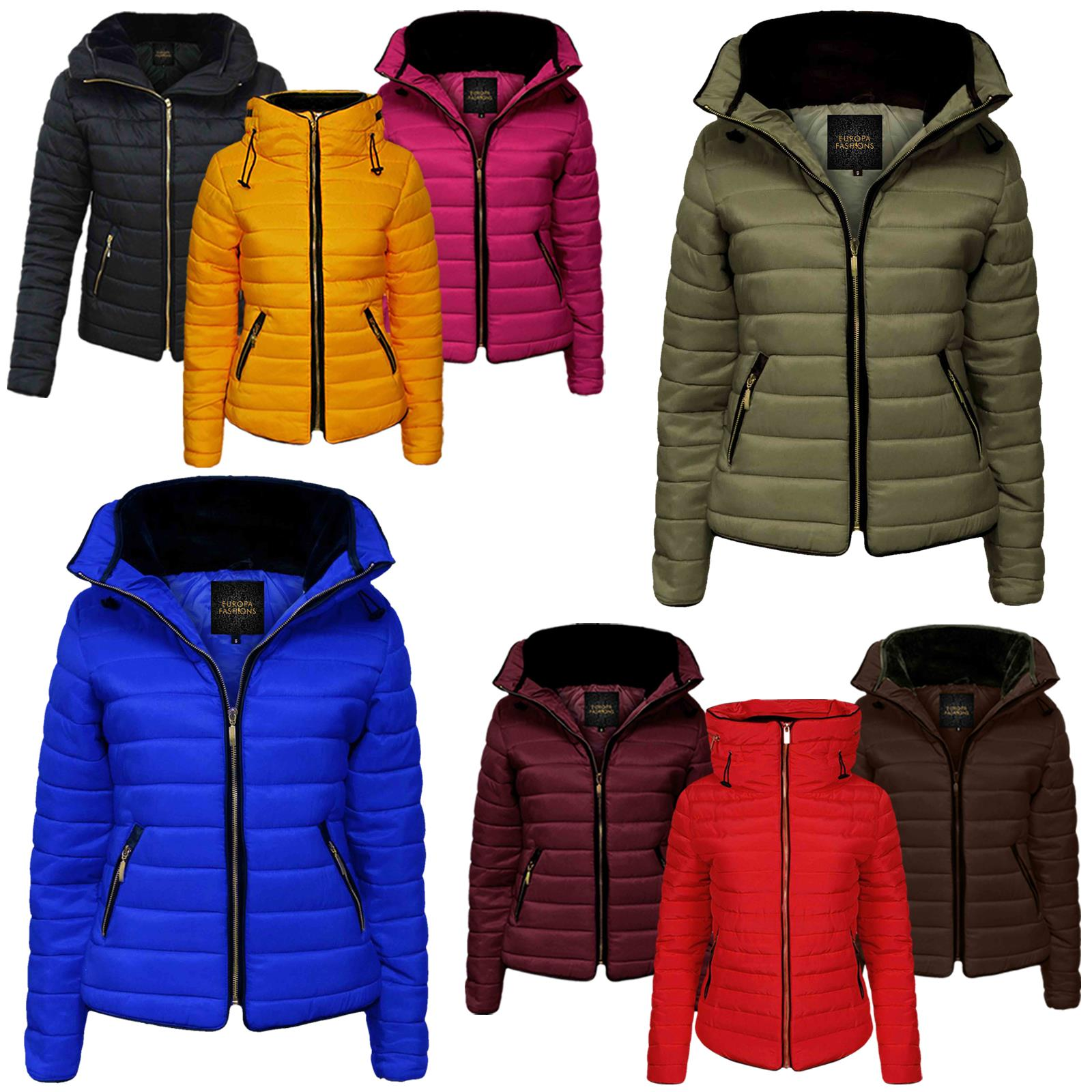 Ladies Gold Zip Hood Thick Jacket High Collar Bubble Puffer Padded Coat Quilted