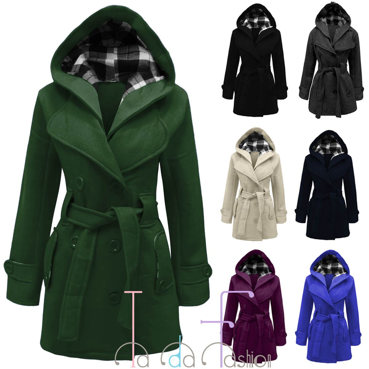 3fa46e99cb1 Details about TaDa Ladies Women Belted Button Coat Hooded Military Long Jacket  Plus Sizes 8-26