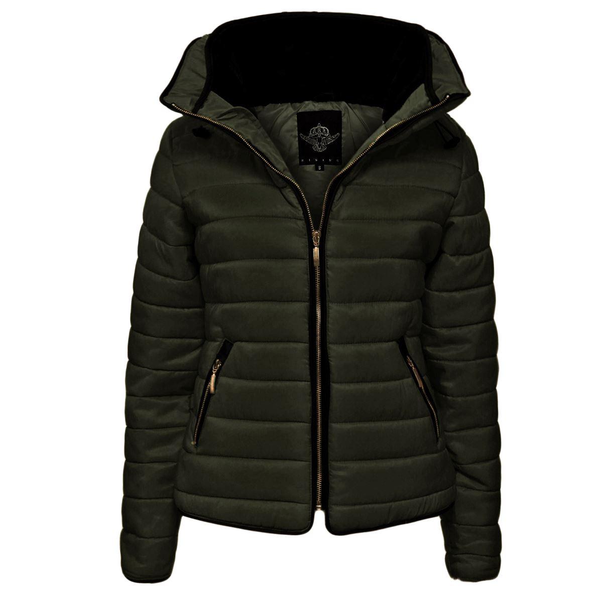 Black puffy coat with fur hood
