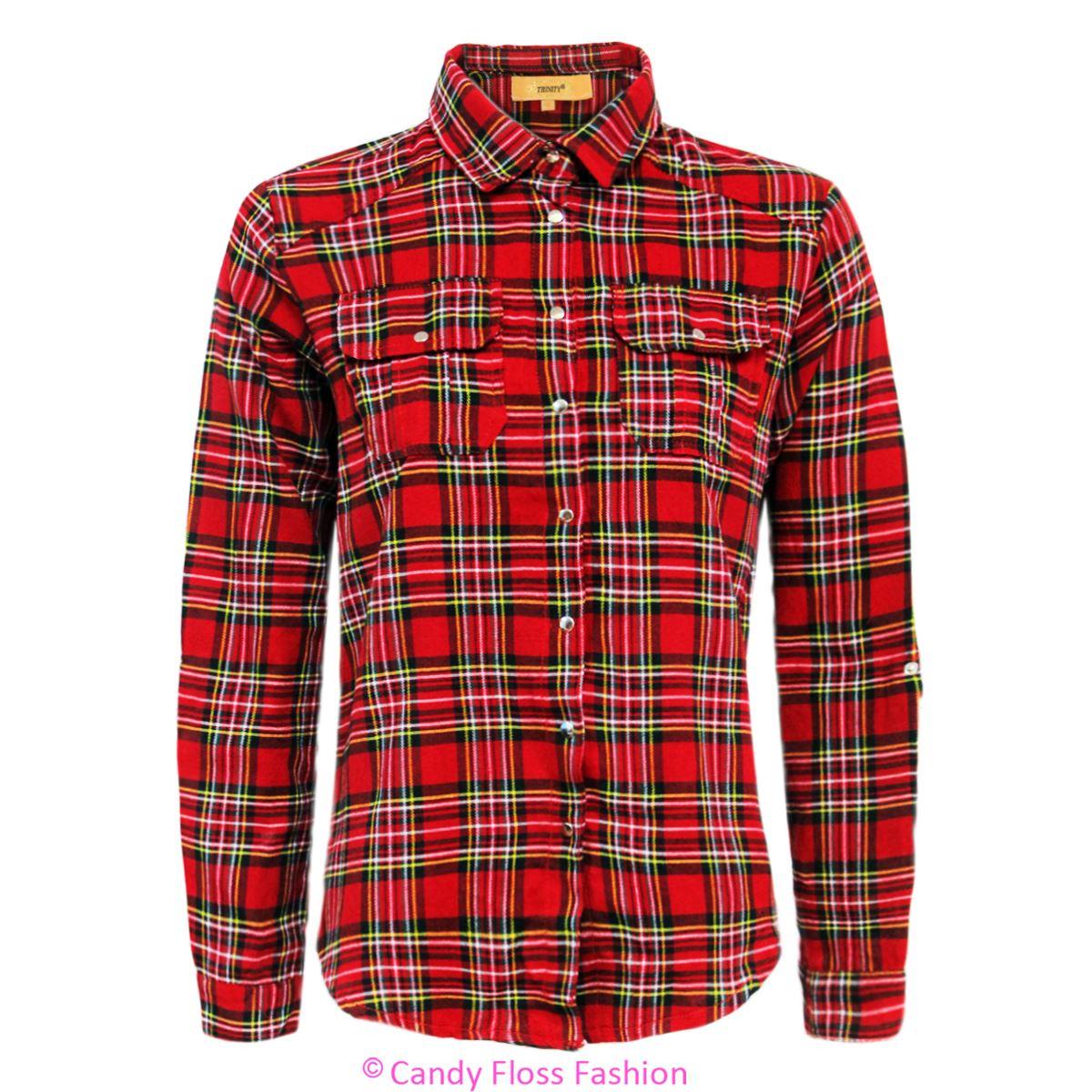 Ladies Womens Check Tartan Shirt Long Sleeve Button Down