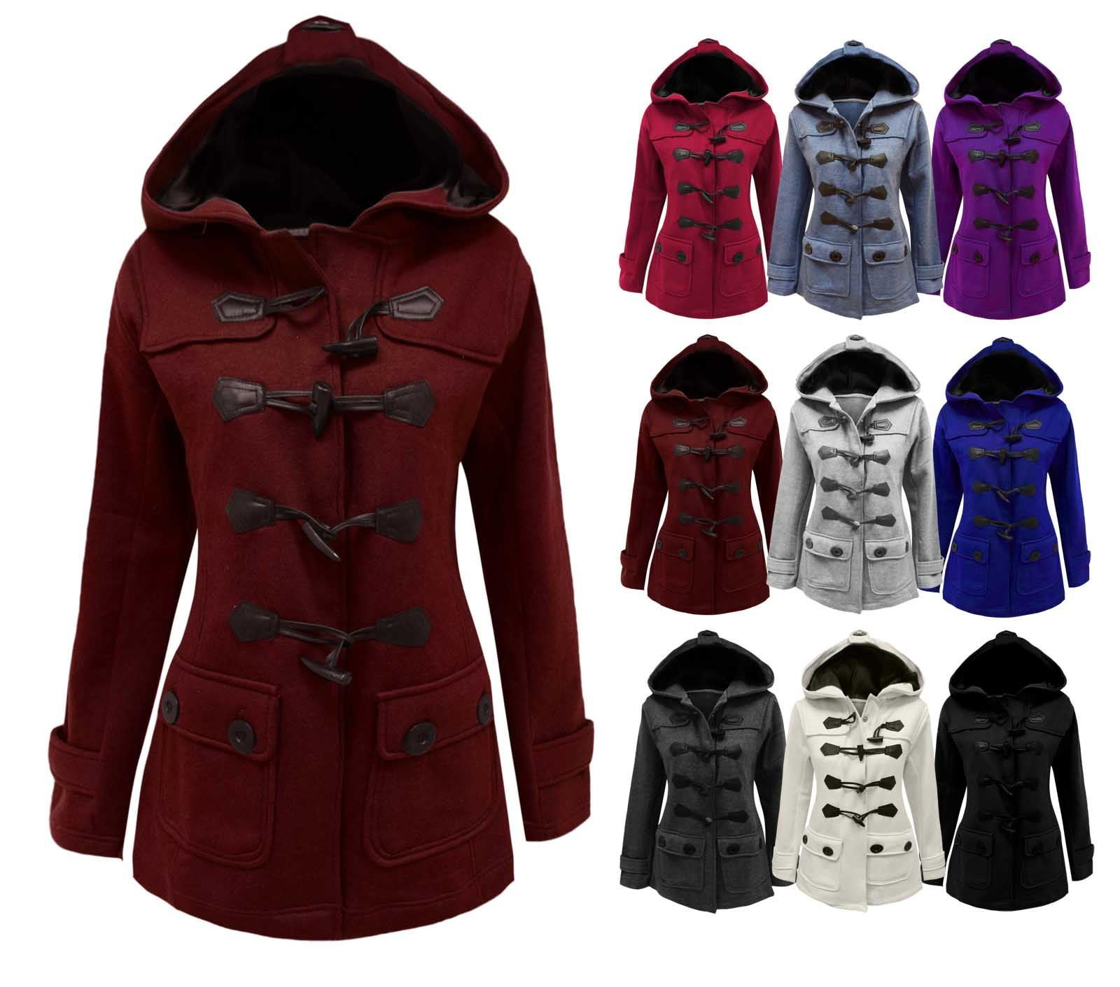 a8e91b2ac Womens Duffle Toggle Ladies Fleece Jacket Coat